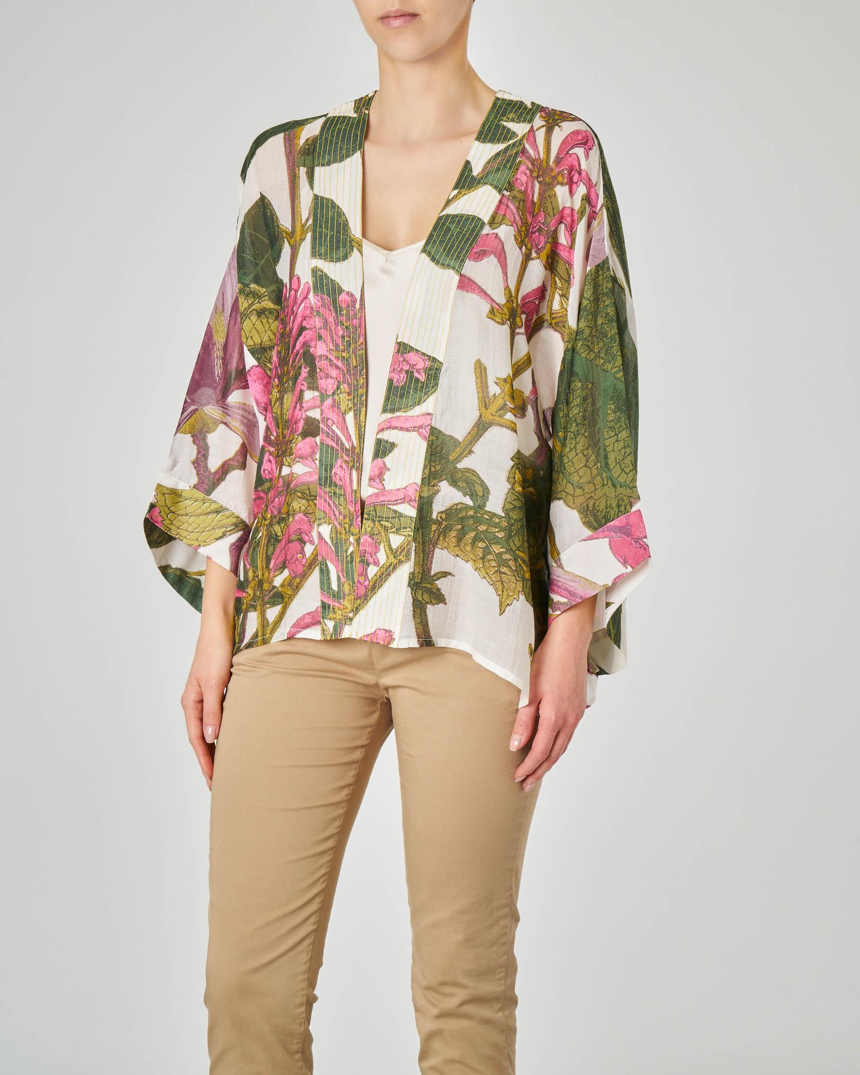 Kimono corto in viscosa misto modal color crema con stampa fiori di magnolia