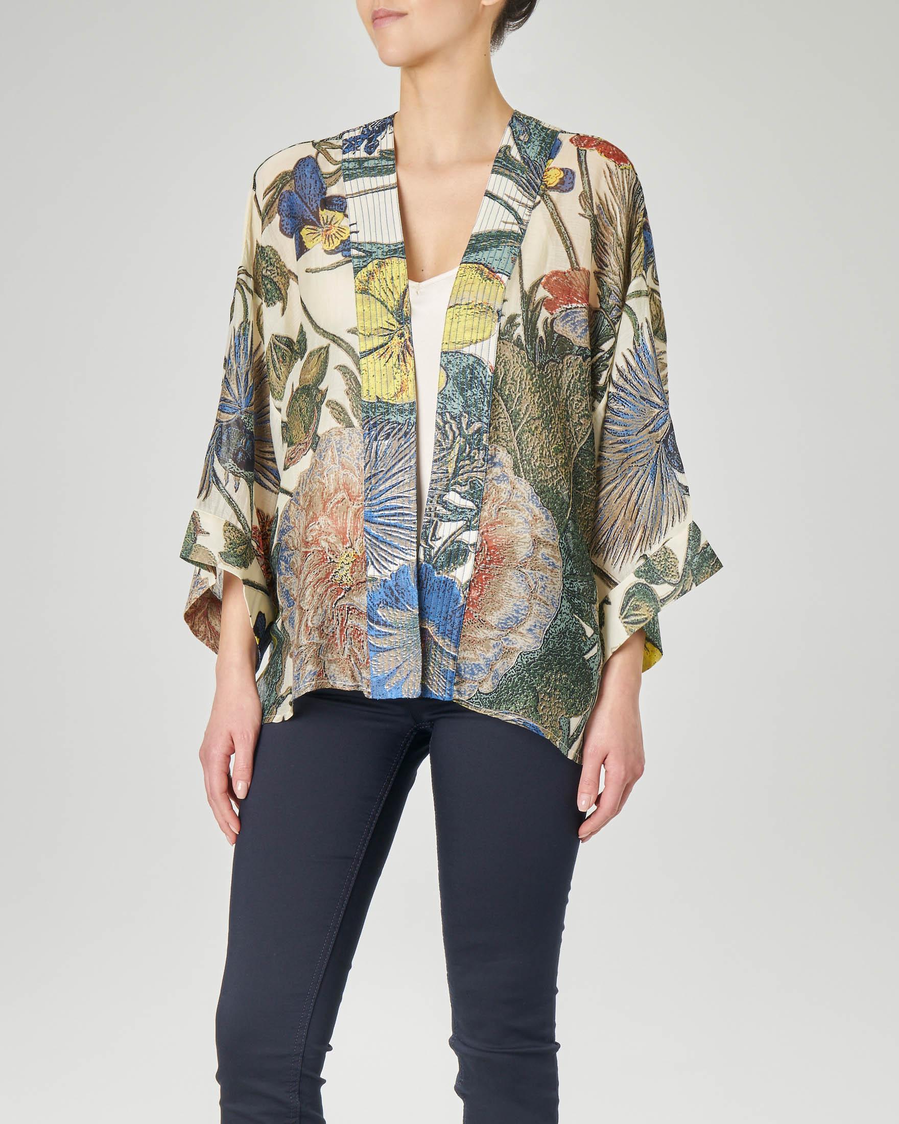Kimono corto in viscosa misto modal color crema con stampa fiori gialli e blu