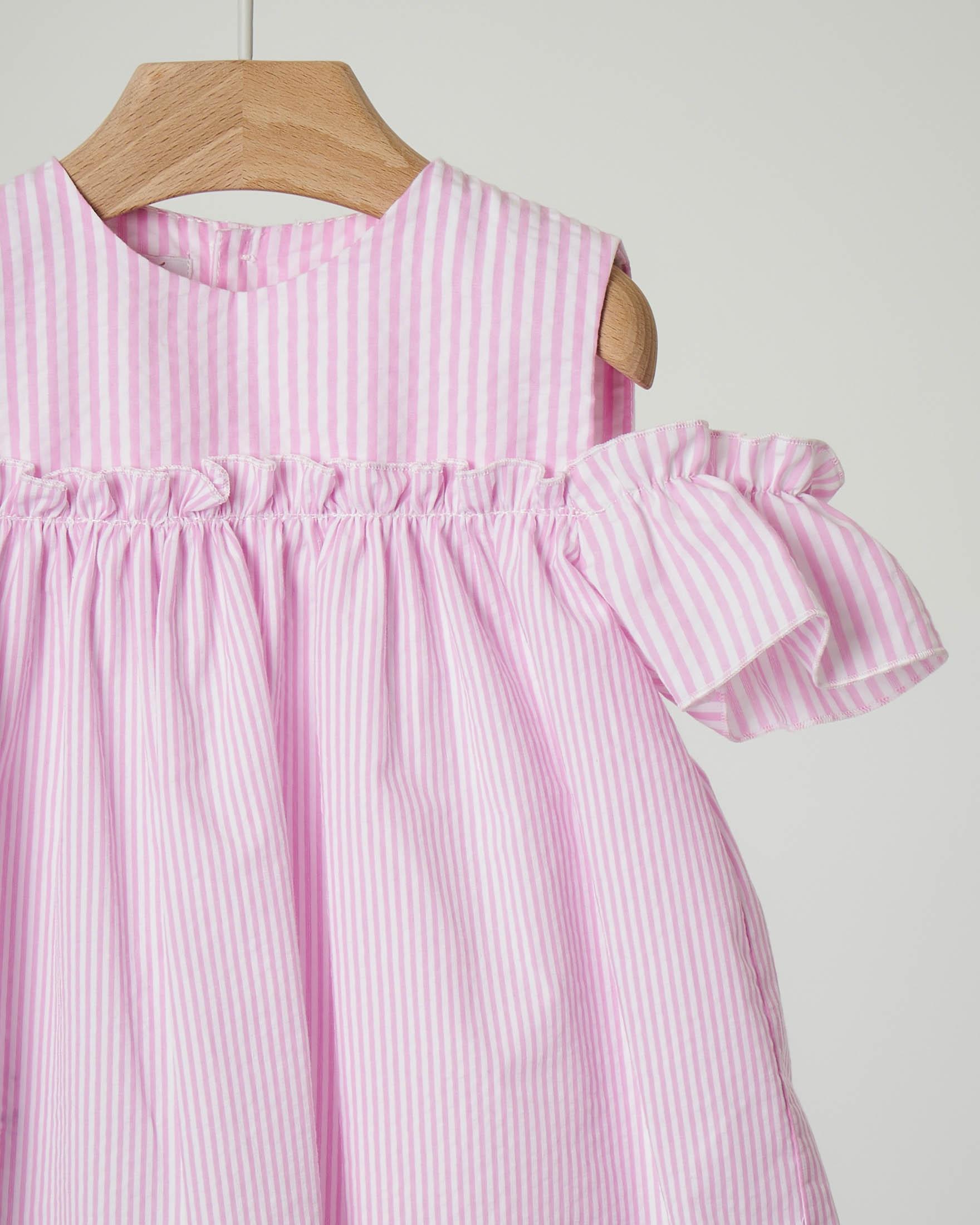 Camicia rosa e bianca seersucker
