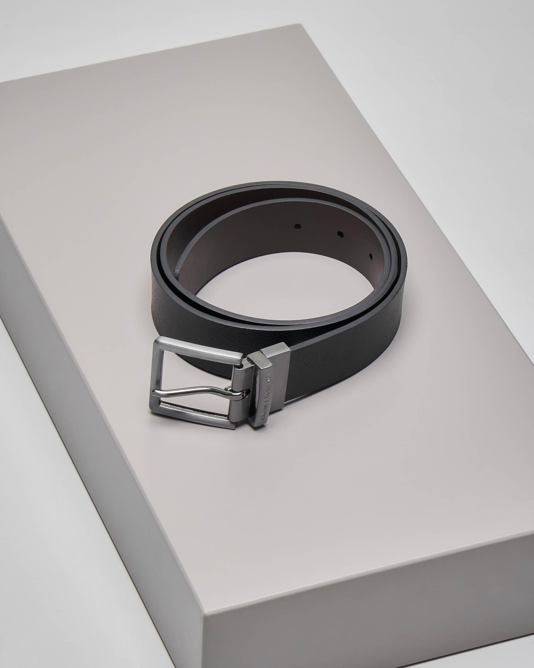 Cintura nera in pelle martellata reversibile in moro