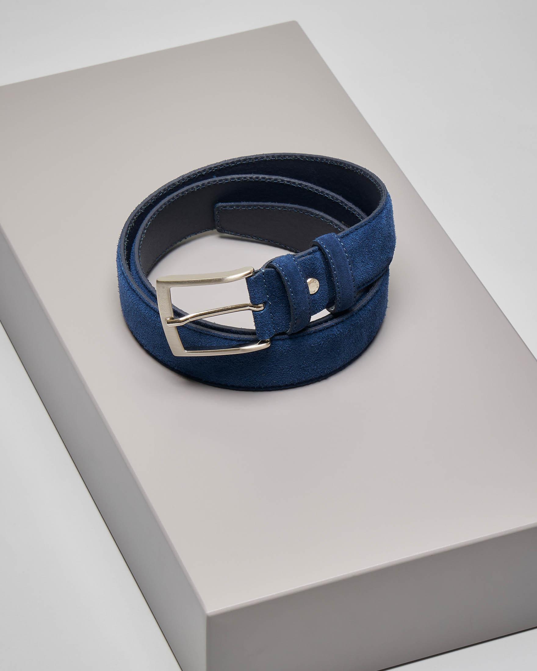 Cintura blu in pelle scamosciata