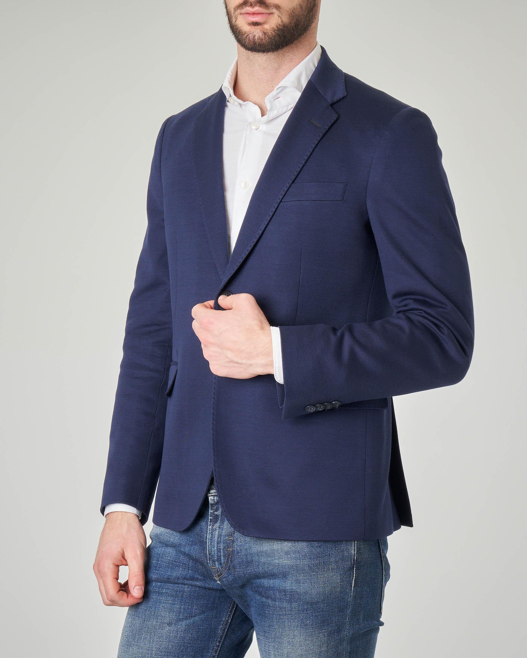 Giacca blu in piquè di cotone con impunture a vista