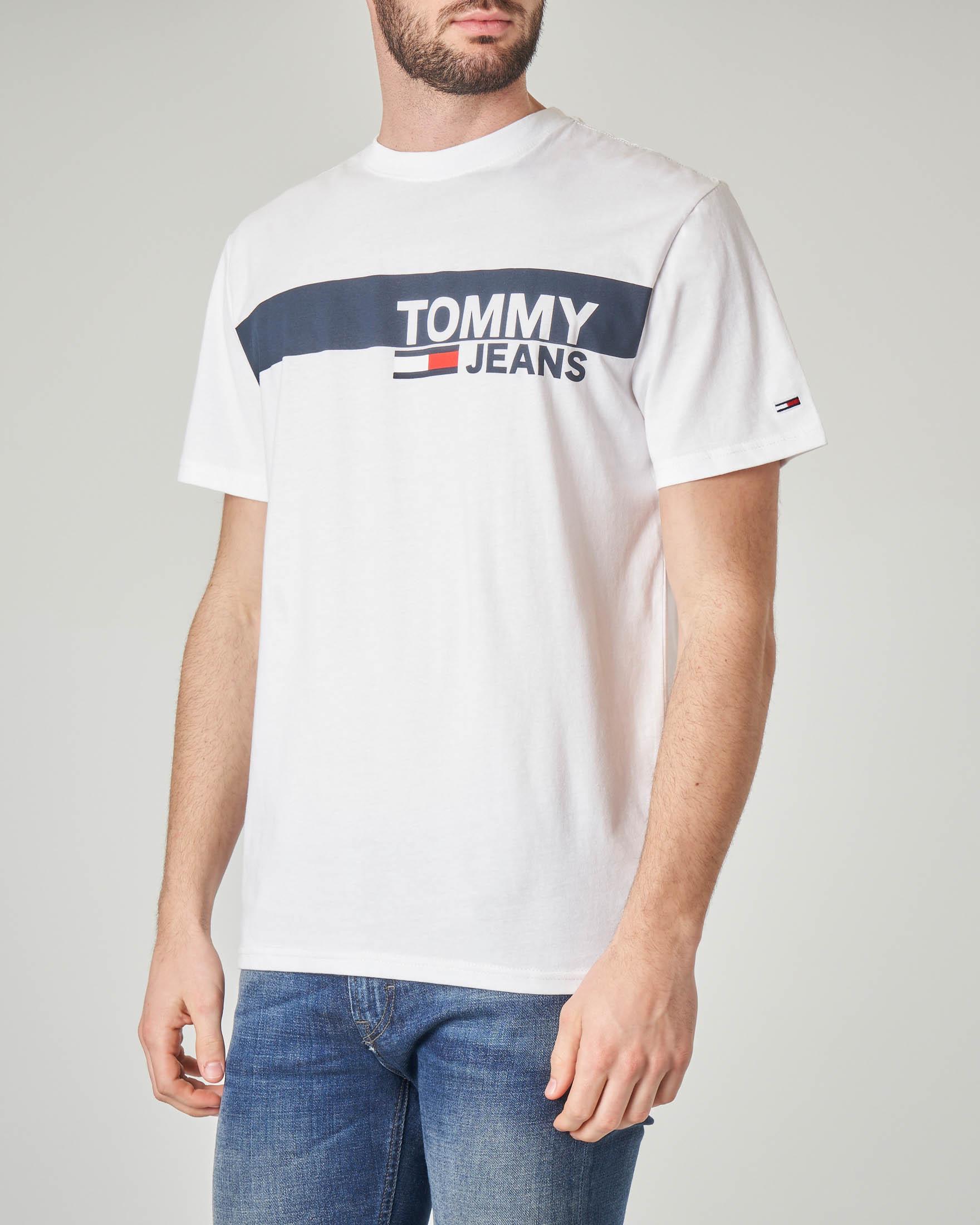 T-shirt bianca con fascia blu e logo