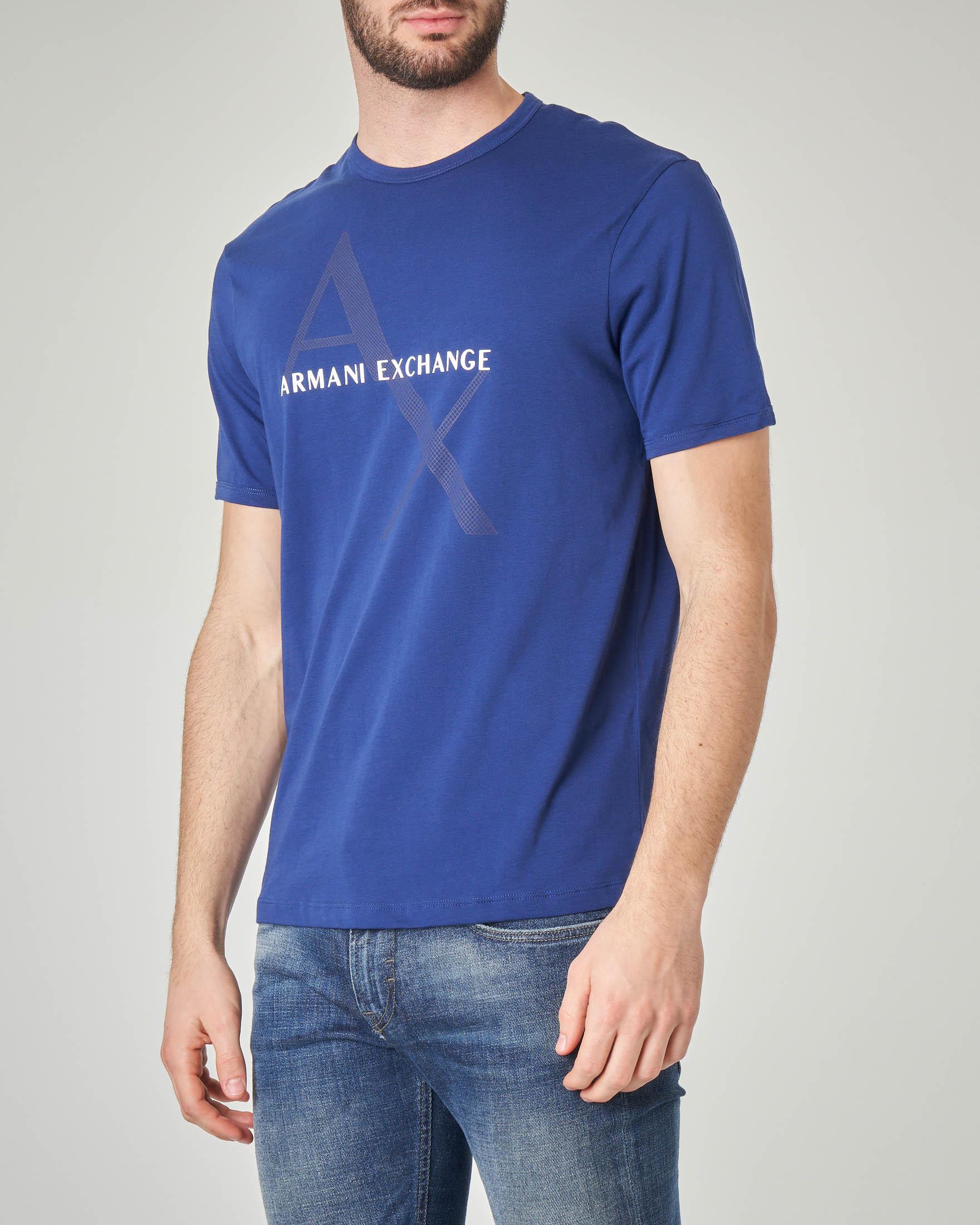 T-shirt blu royal con logo rete
