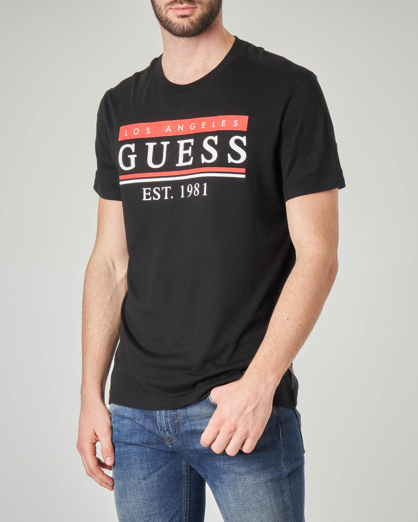 T-shirt nera con logo e scritta Los Angeles