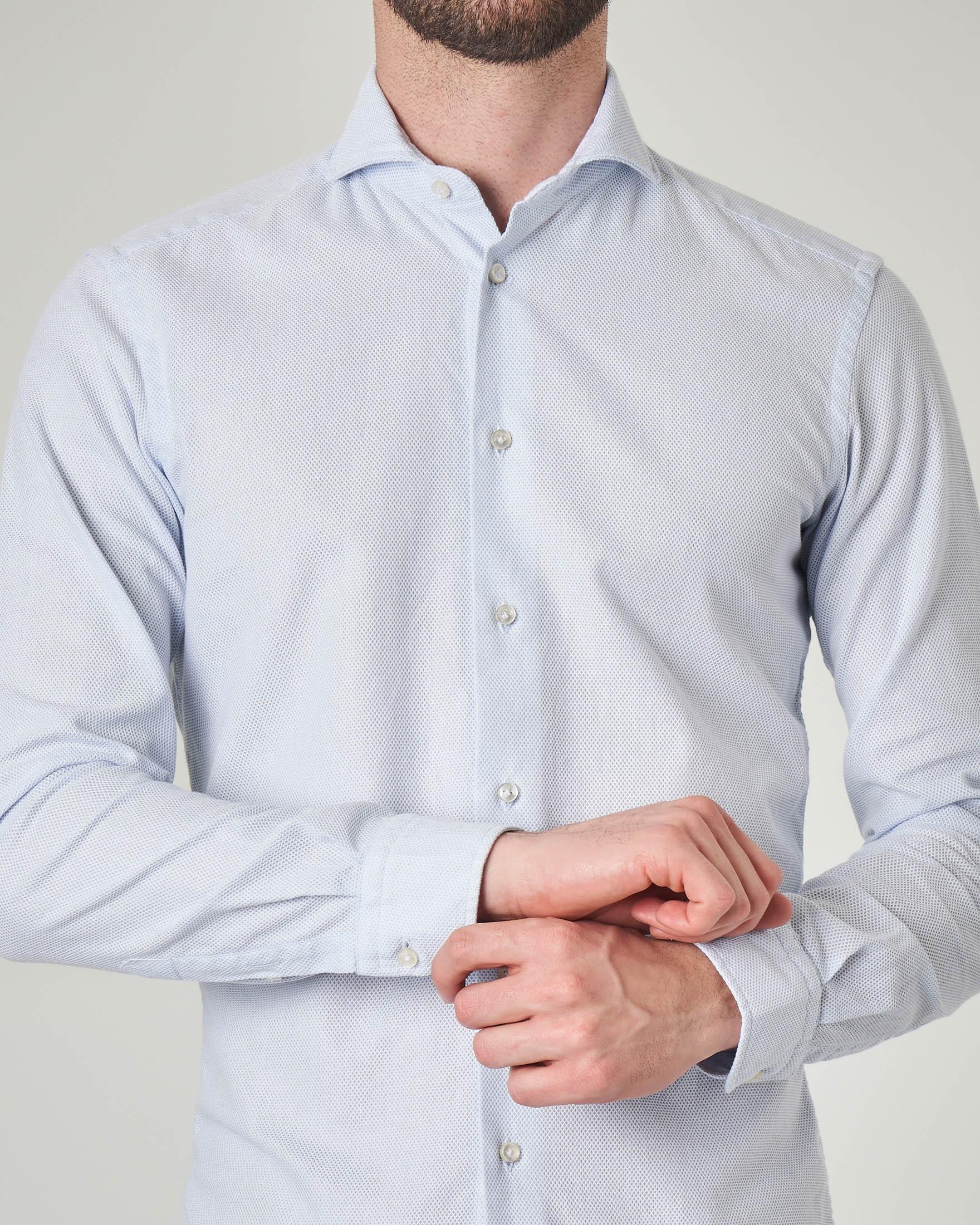 Camicia azzurra in tessuto armaturato