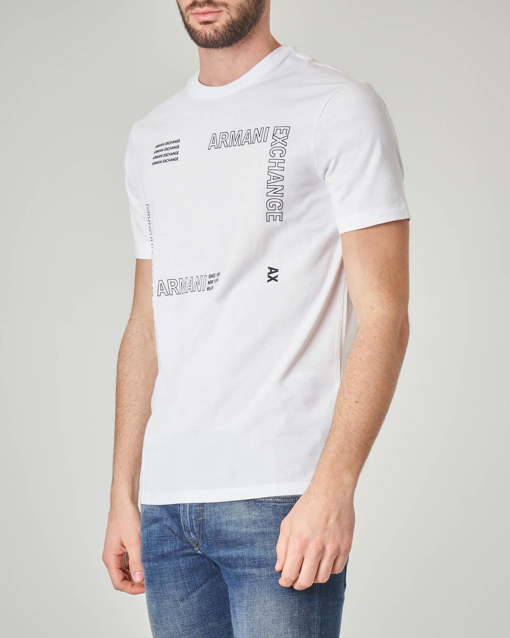 T-shirt bianca con stampa logata