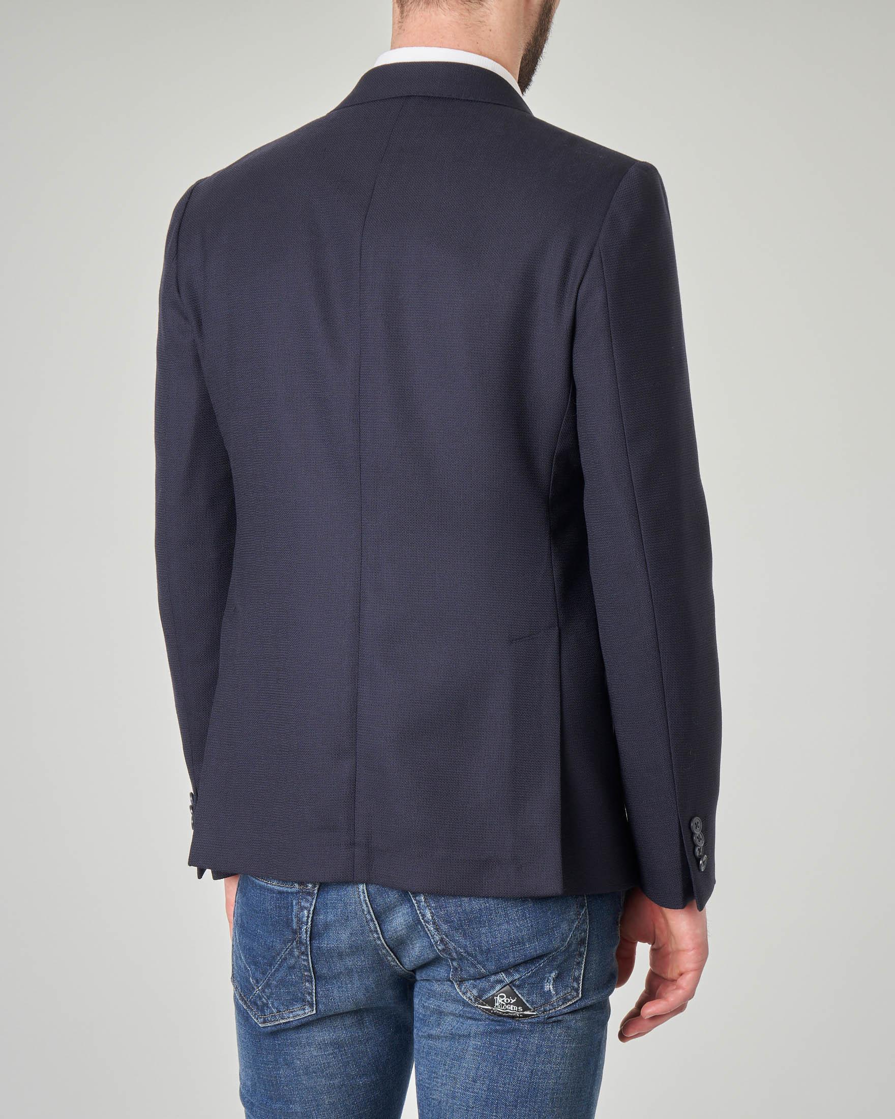 Giacca blu micro-armatura in lana