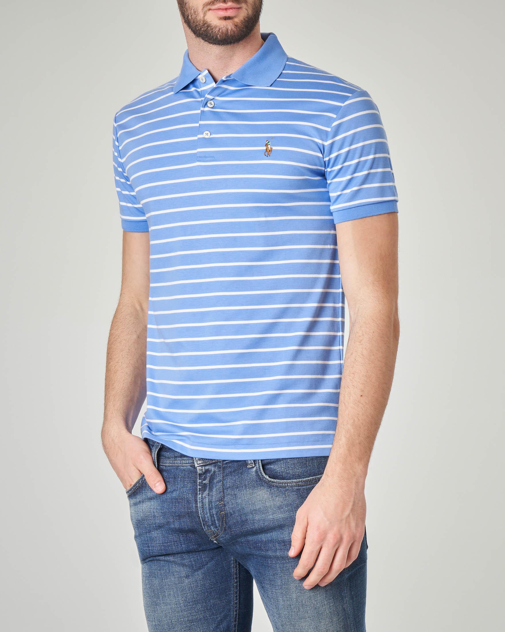Polo azzurra a righe bianche orizzontali in pima cotton