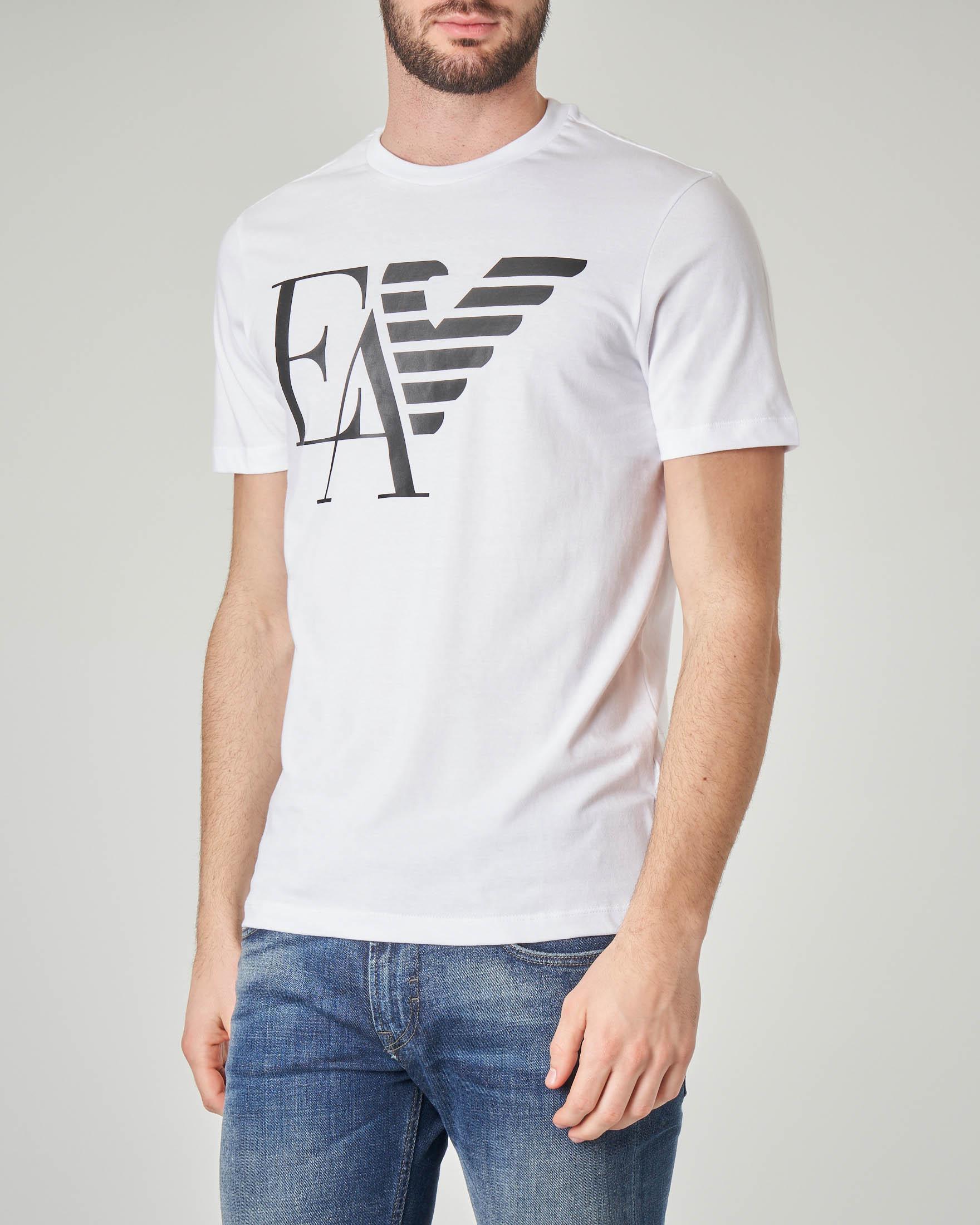 T-shirt bianca con logo e aquila stampati