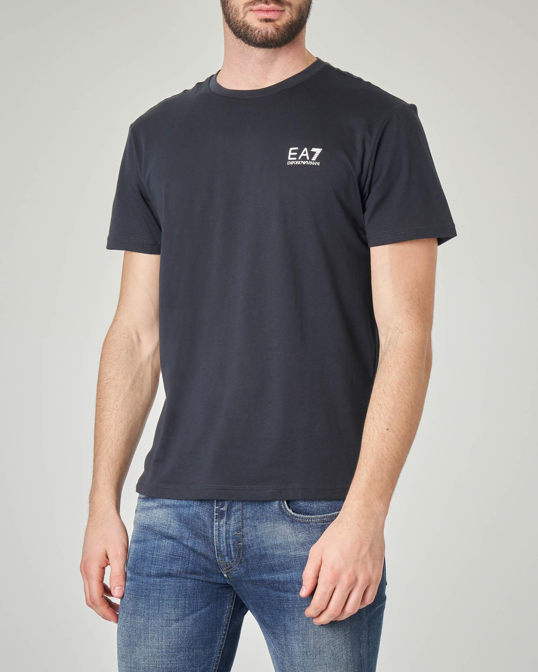 T-shirt blu con logo piccolo