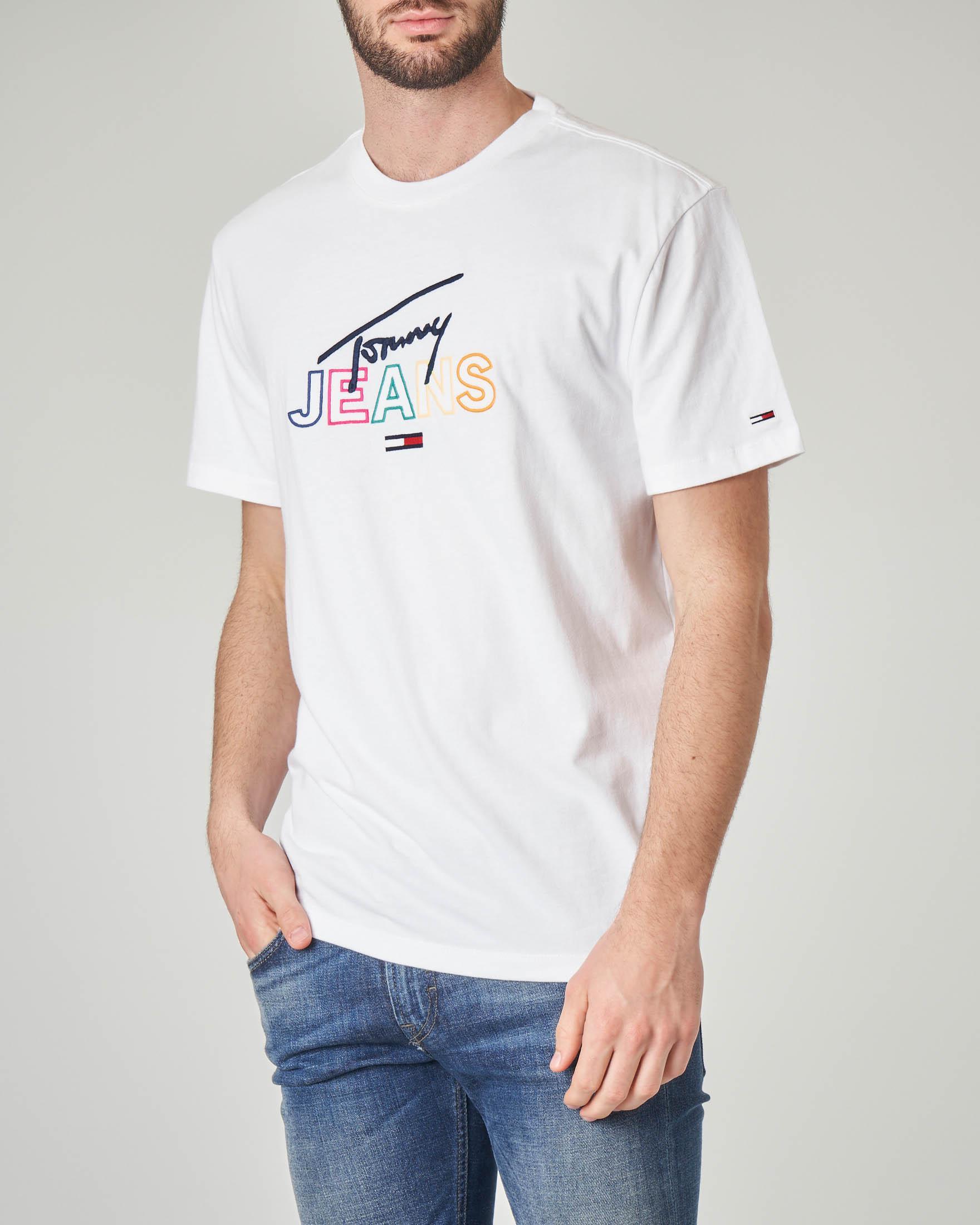 T-shirt bianca con logo in corsivo
