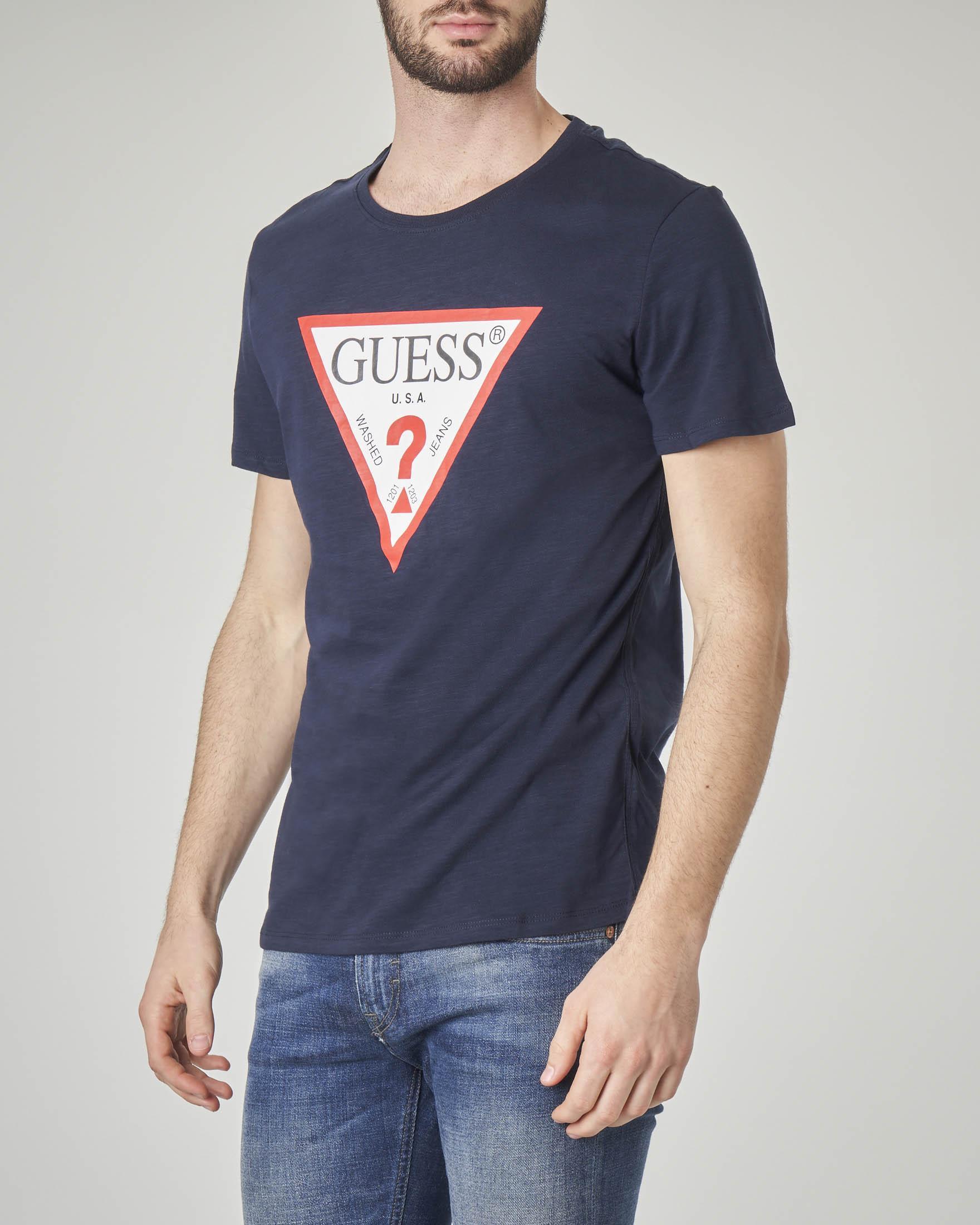 T-shirt blu in cotone fiammato con logo triangolo