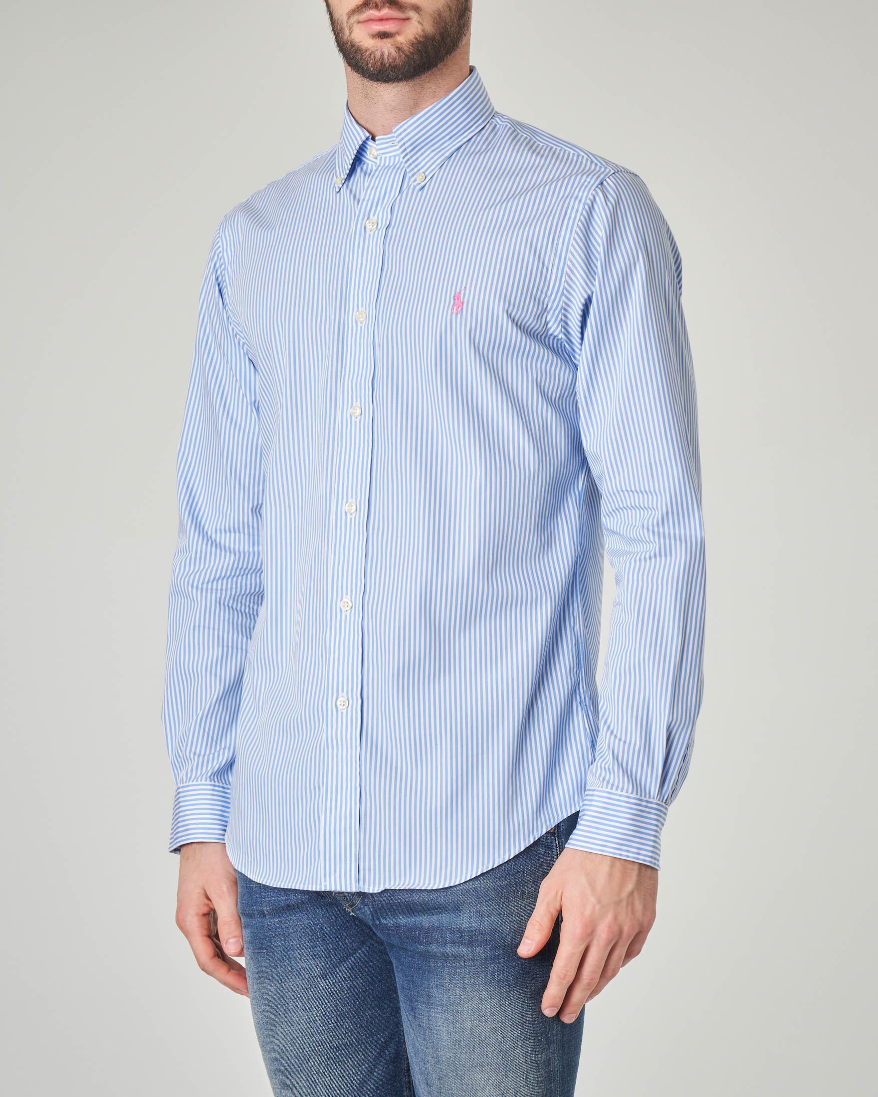 Camicia a bastoncino bianco e azzurro button down
