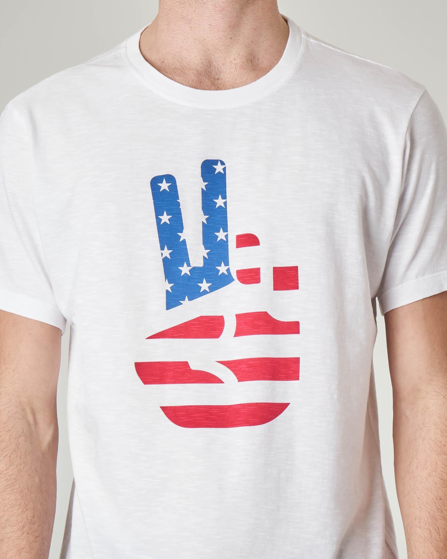 T-shirt bianca con stampa colori USA