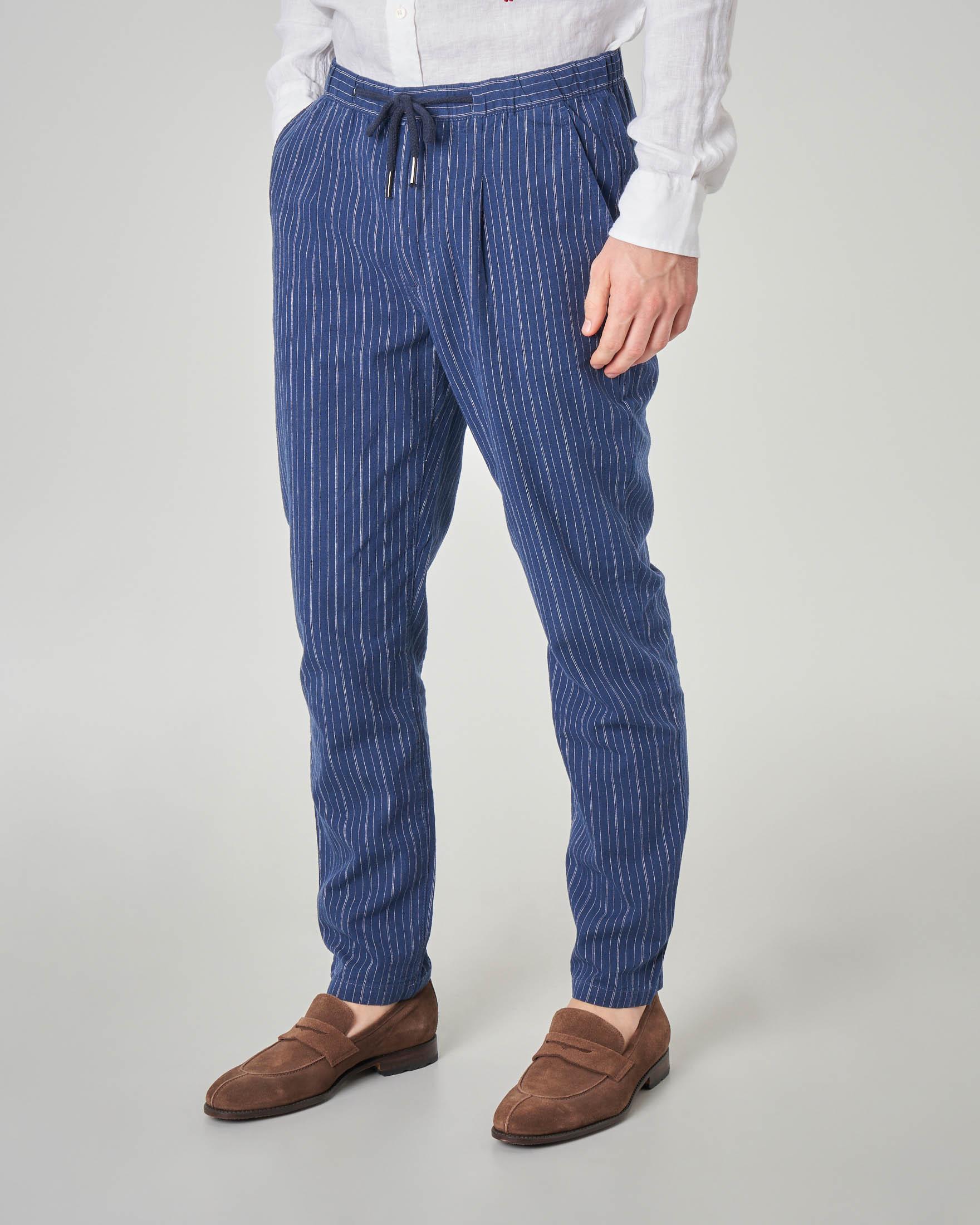 Pantalaccio blu a righe bianche in misto lino