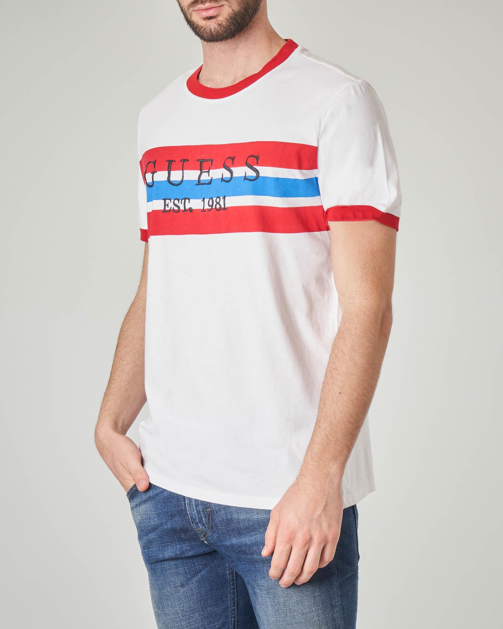 T-shirt bianca con riga bicolore piazzata