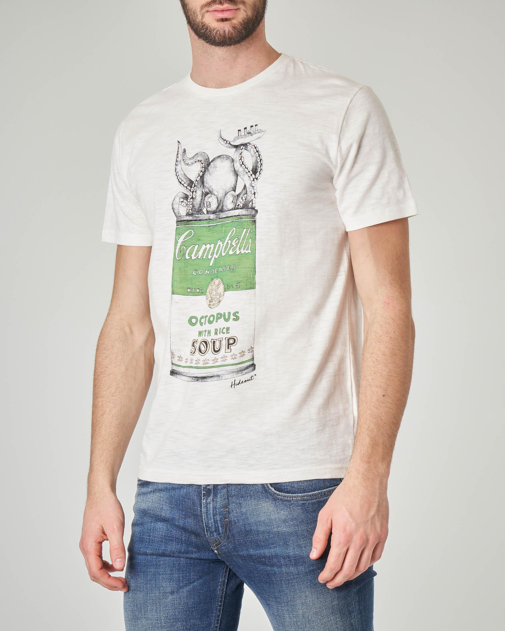 T-shirt bianca con stampa barattolo verde Campbell