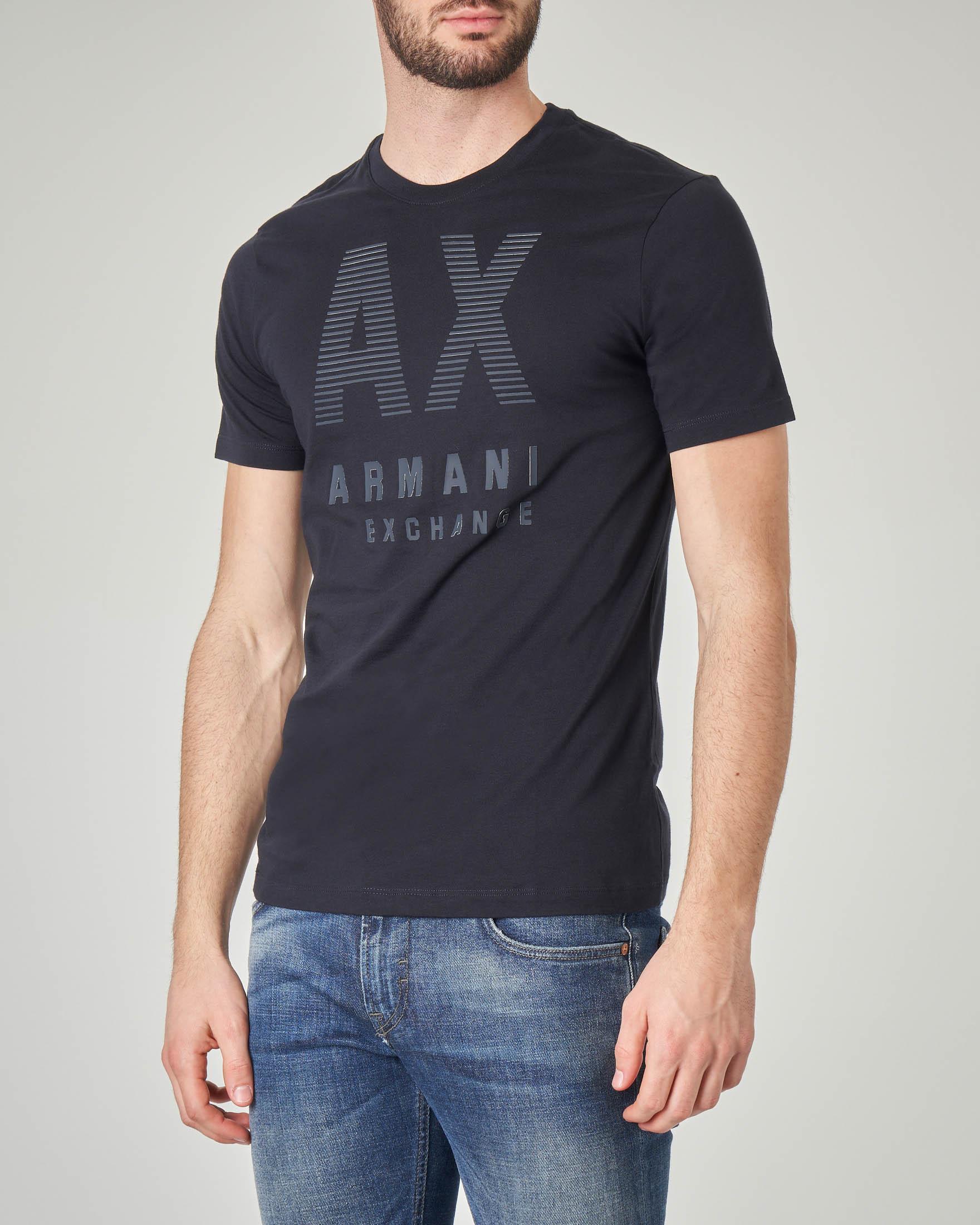 T-shirt blu con logo gommato