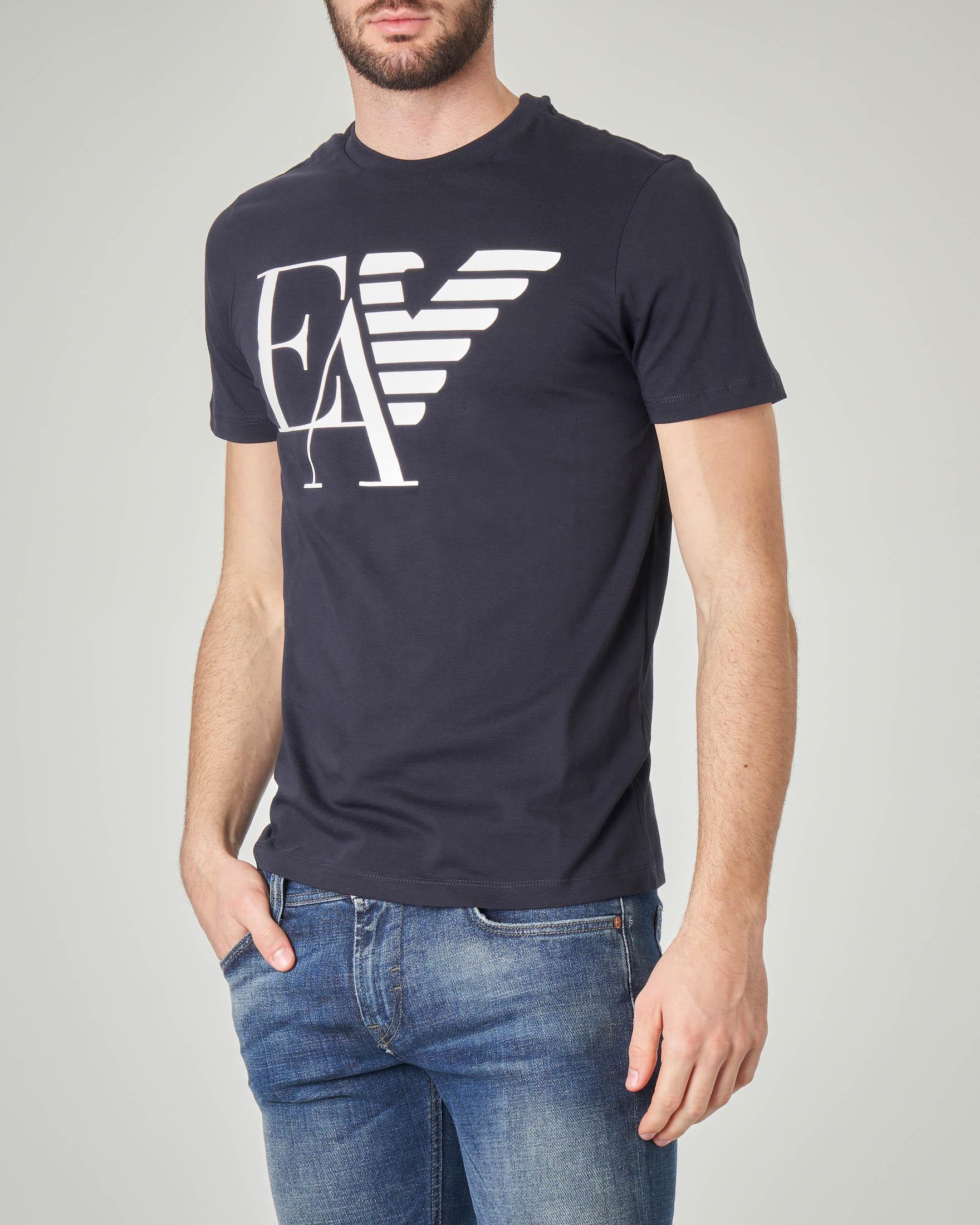T-shirt blu con logo e aquila stampati