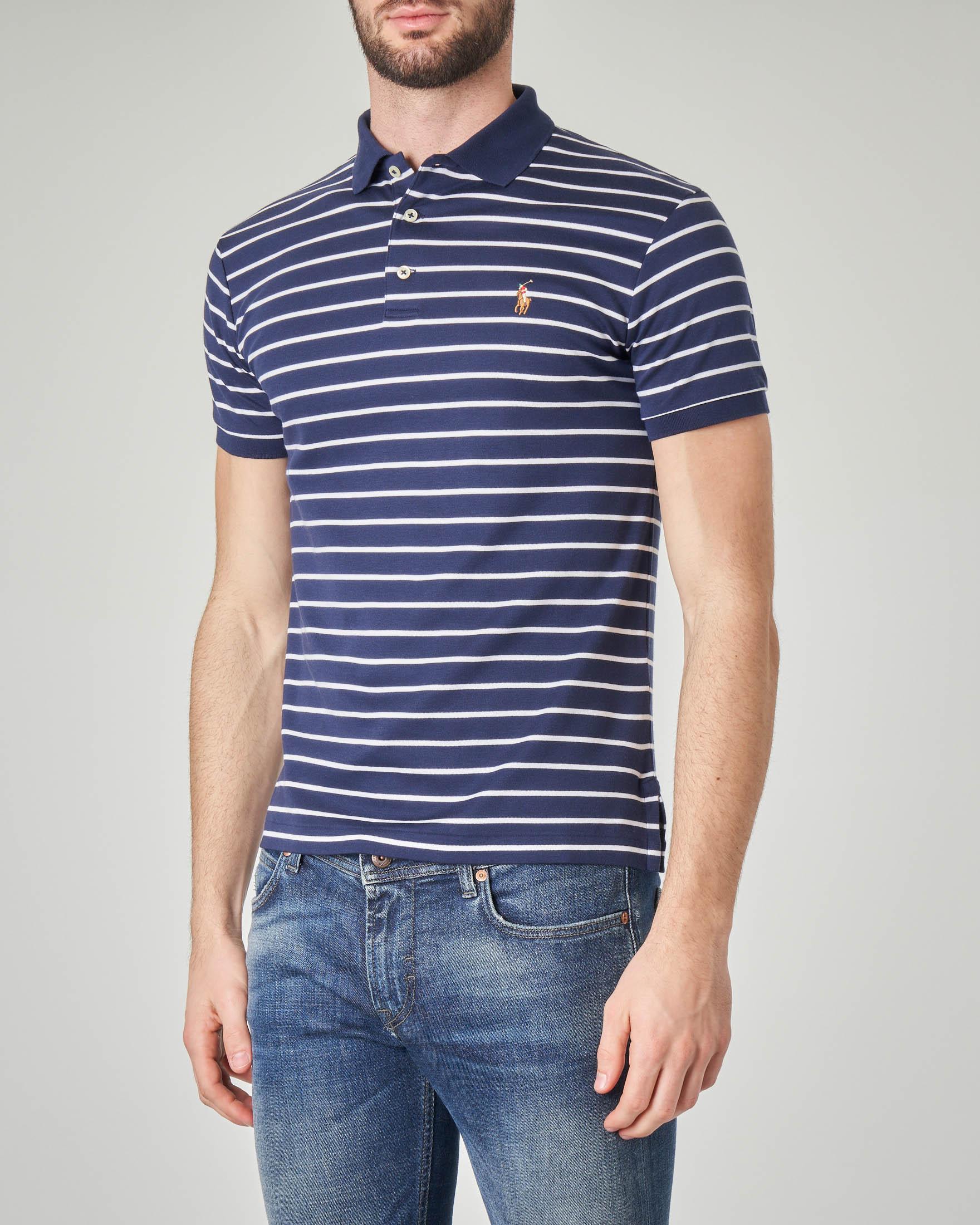 Polo blu a righe bianche orizzontali in pima cotton
