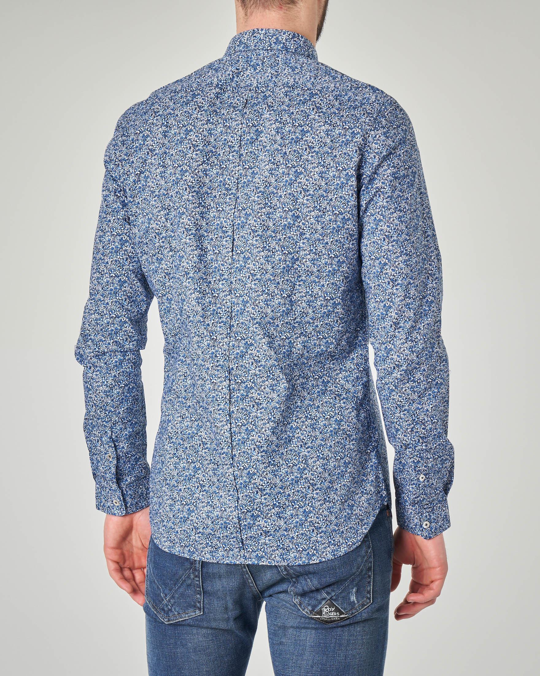 Camicia blu fantasia floreale