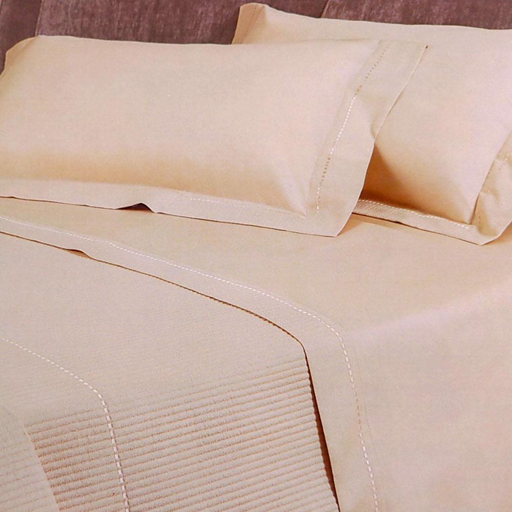 Lenzuola Matrimoniali New York.Borbonese Set Of Sheets Double Bed In 2 Squares New York Satin Sand