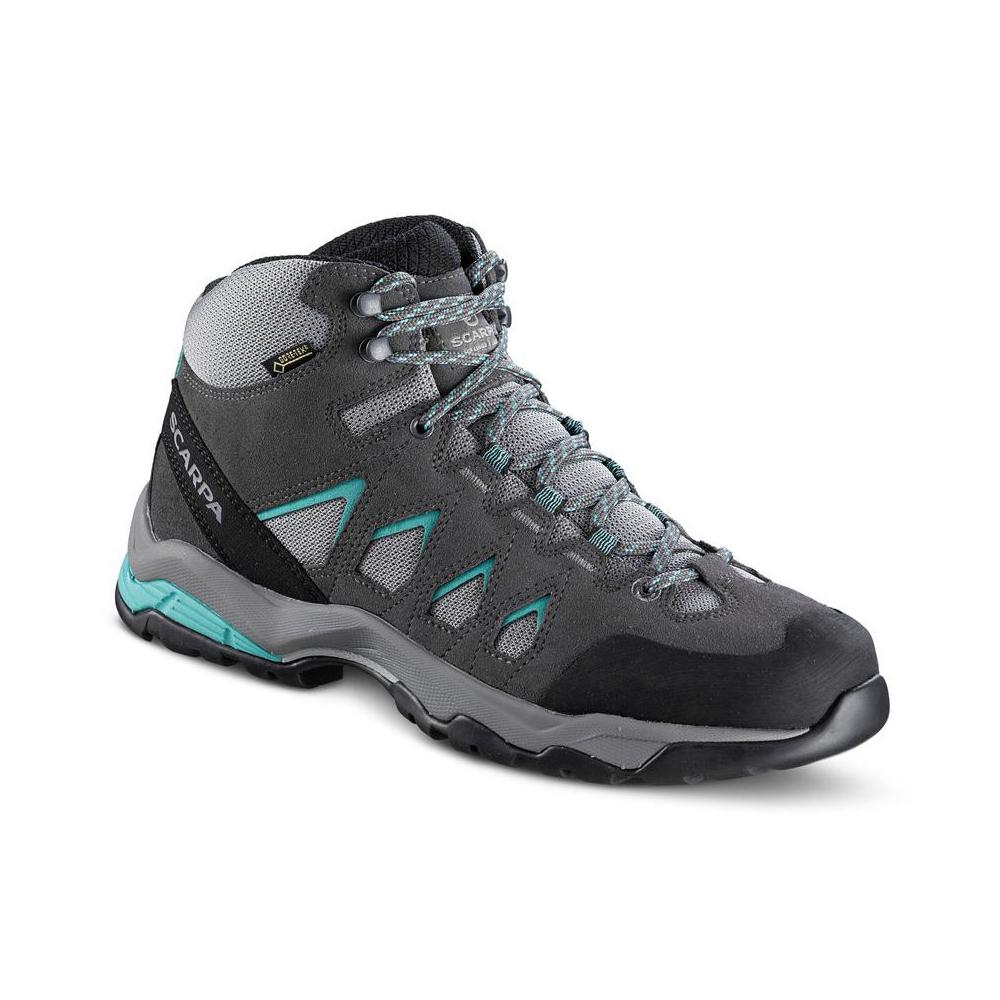 MORAINE MID GTX WMN   -   Protective for hiking on mixed terrains, waterproof   -   Midgray-Storm Gray-Lagoon Green