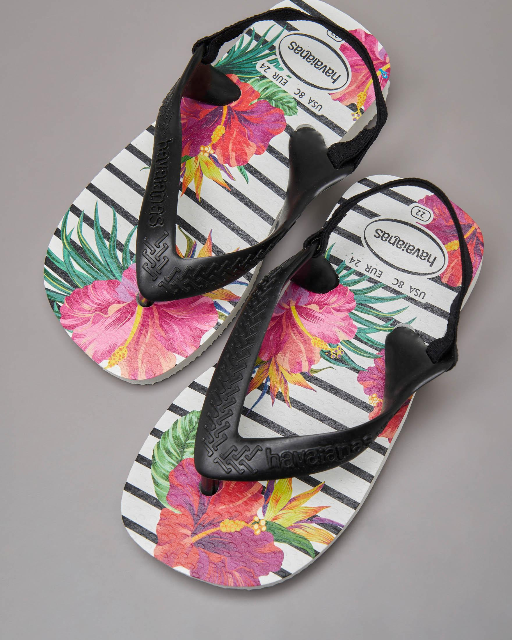 Havaianas bianca a righe nere con stampa floreale