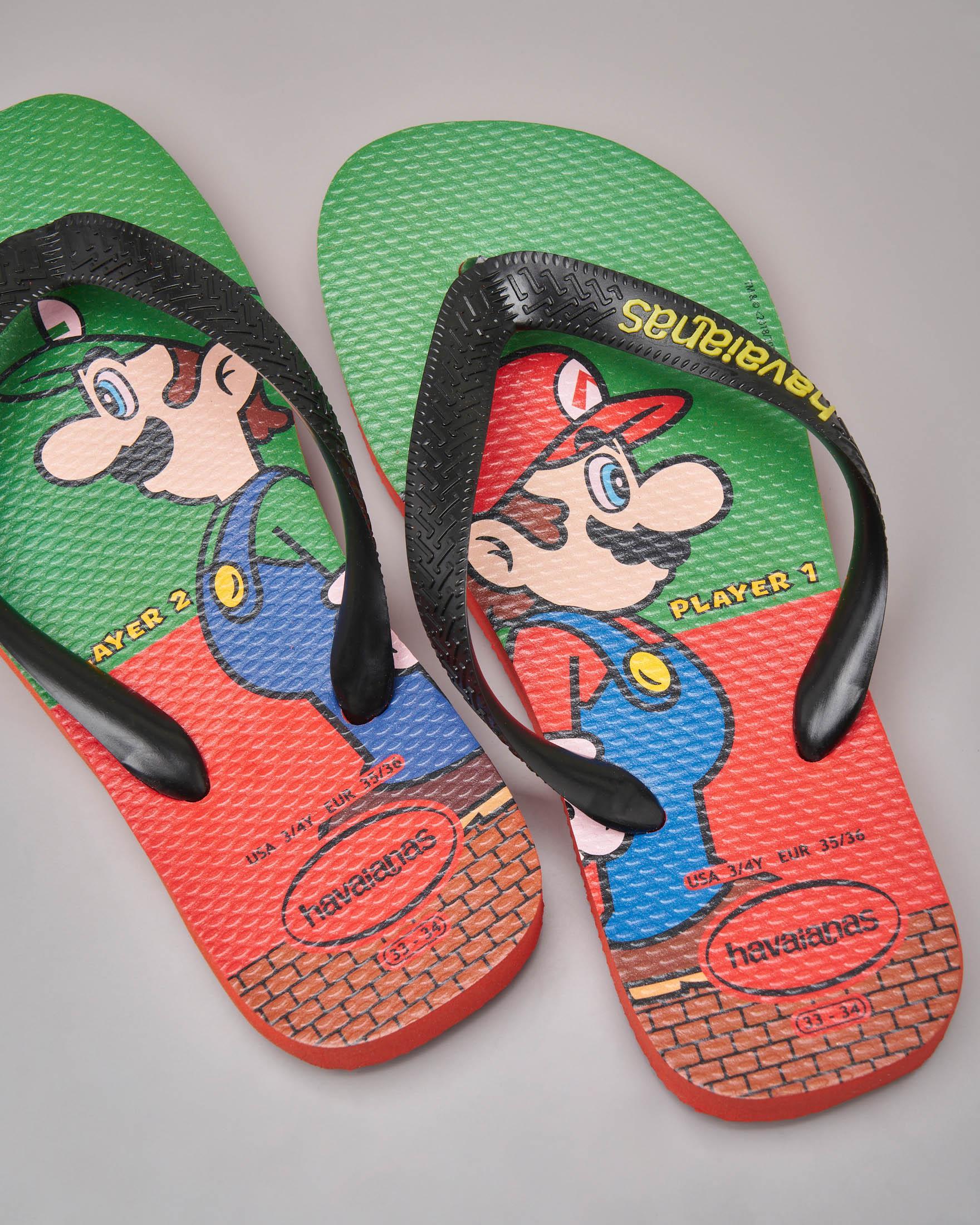 Havaianas rosse e verdi con Mario e Luigi Bros