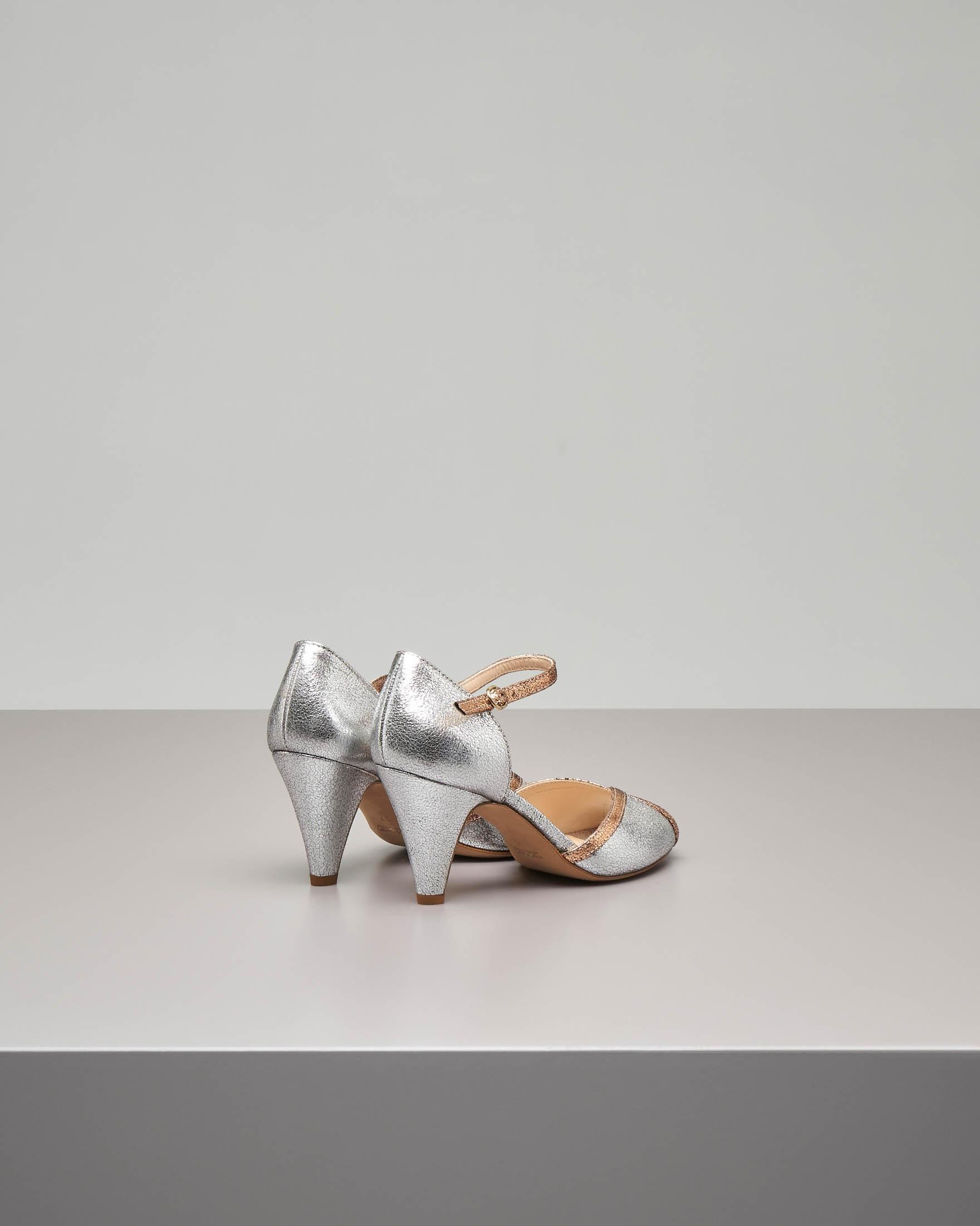 Sandalo modello tanguera in pelle effetto laminato color argento e rame