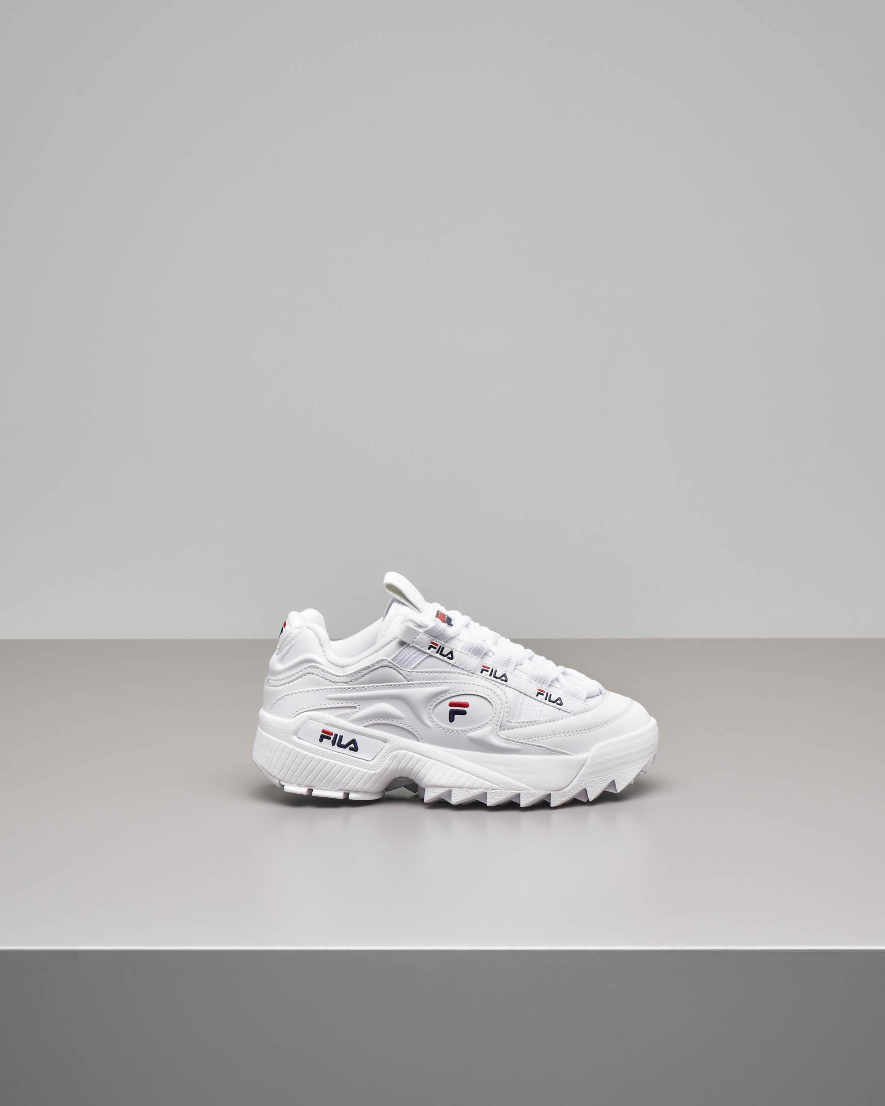 Sneaker Fila D-Formation bianche con rifiniture rosse e blu