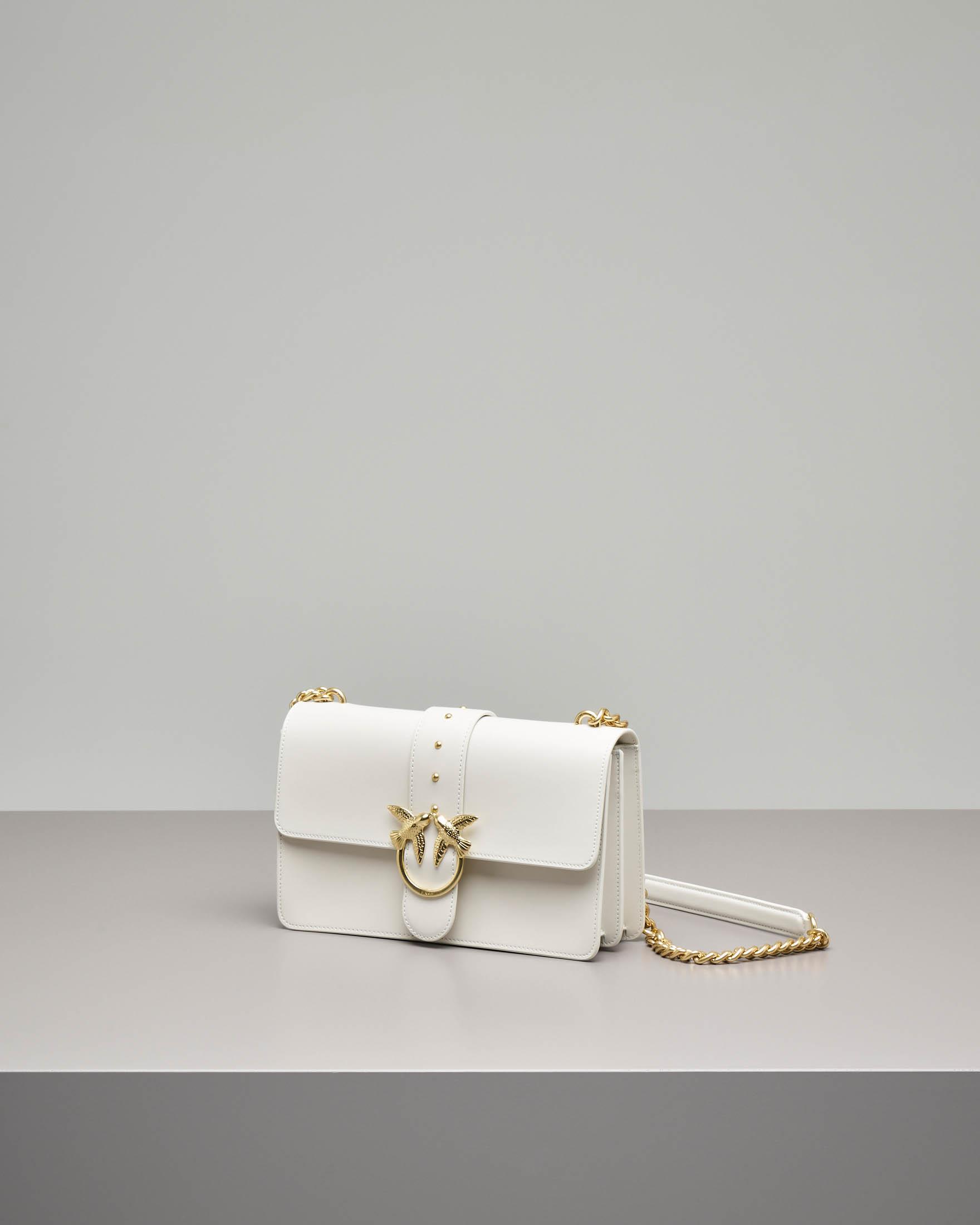 Love Bag color panna in vera pelle con tracolla a catena