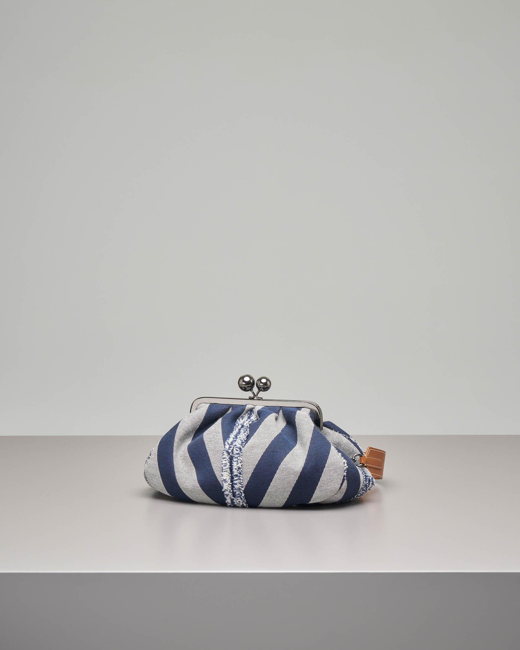 Pasticcino bag misura media in tessuto a righe con dettagli sfrangiati
