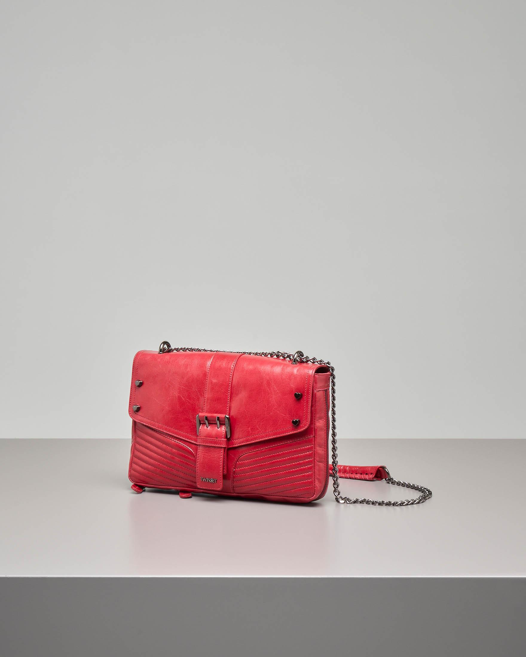 Borsa a tracolla modello Rebel colore rosso in pelle effetto cracklé