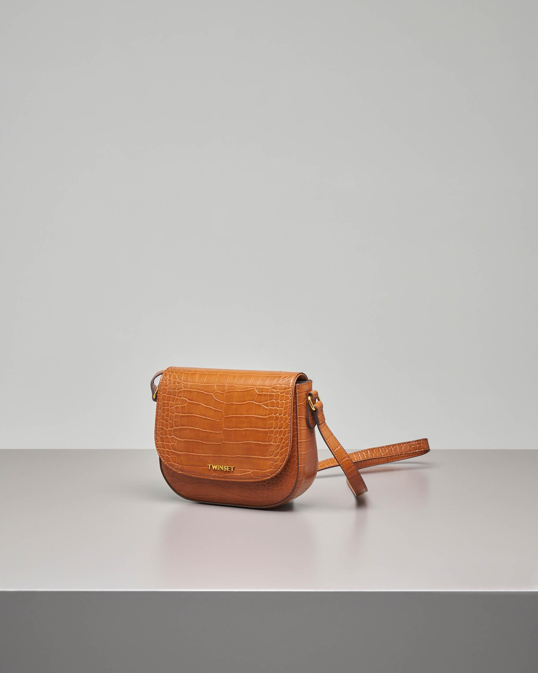 Cross bag misura piccola in ecopelle stampa cocco color cuoio