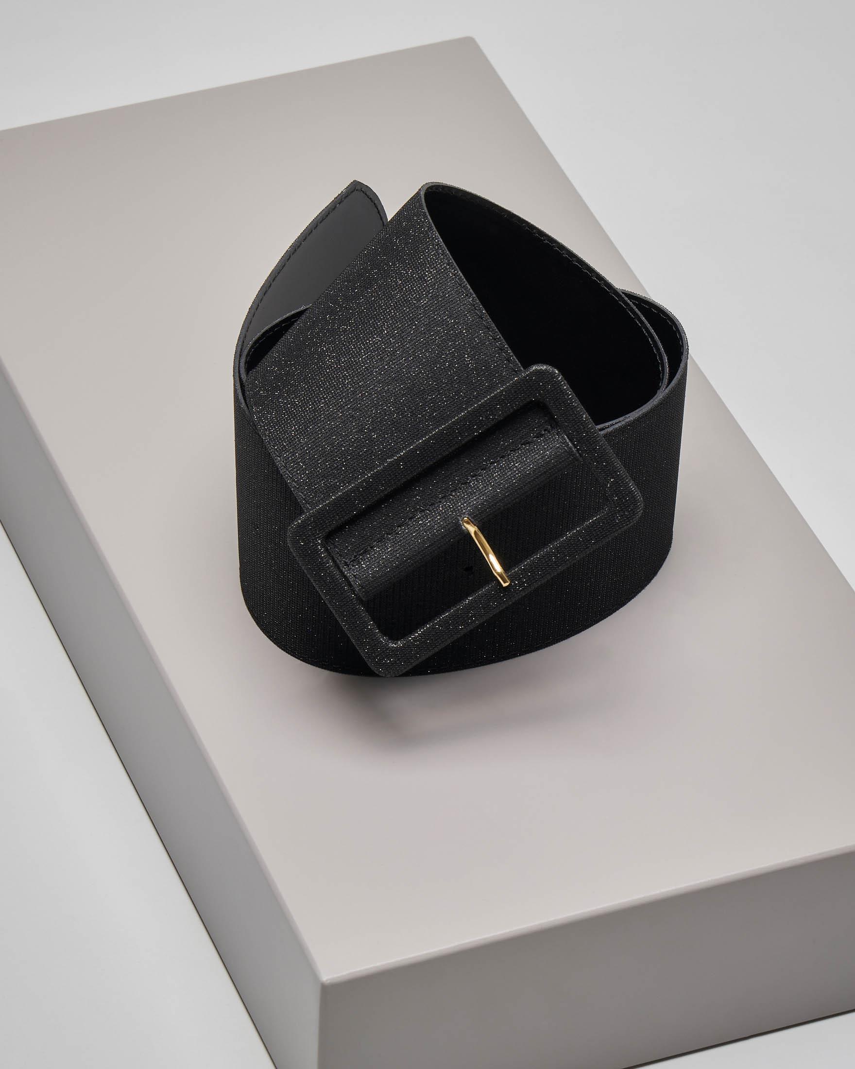 Cintura nera alta con inserti in lurex
