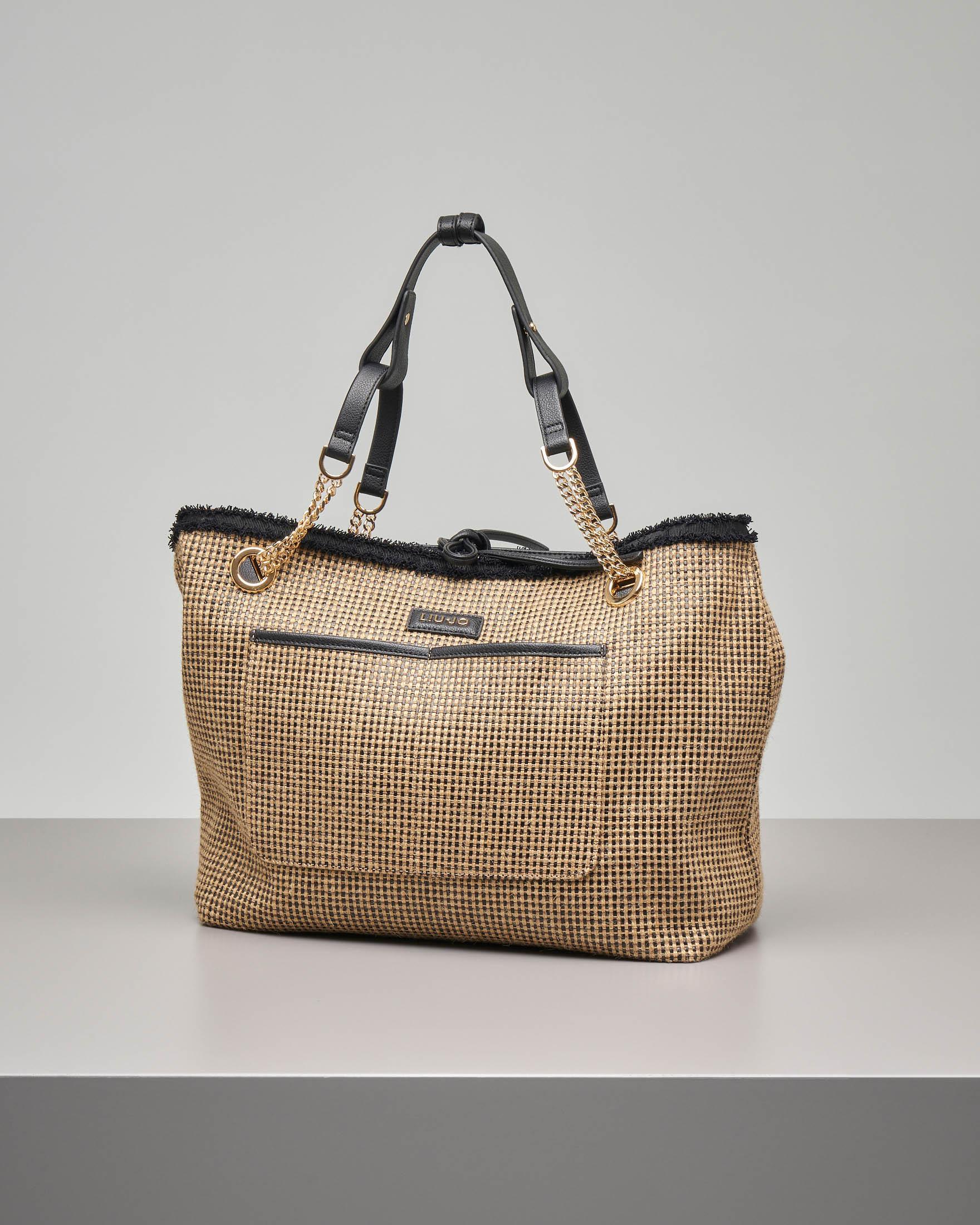 Shopping bag in tessuto effetto rafia misura grande