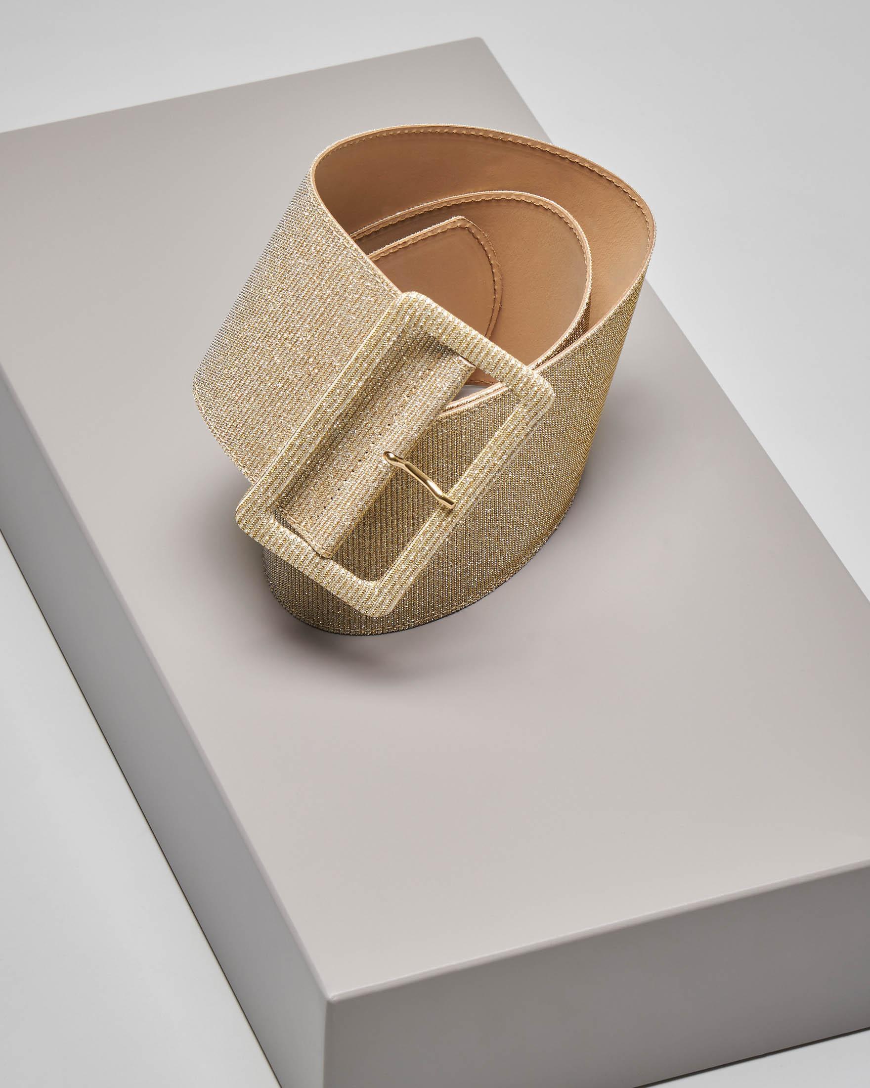 Cintura alta color oro con inserti in lurex