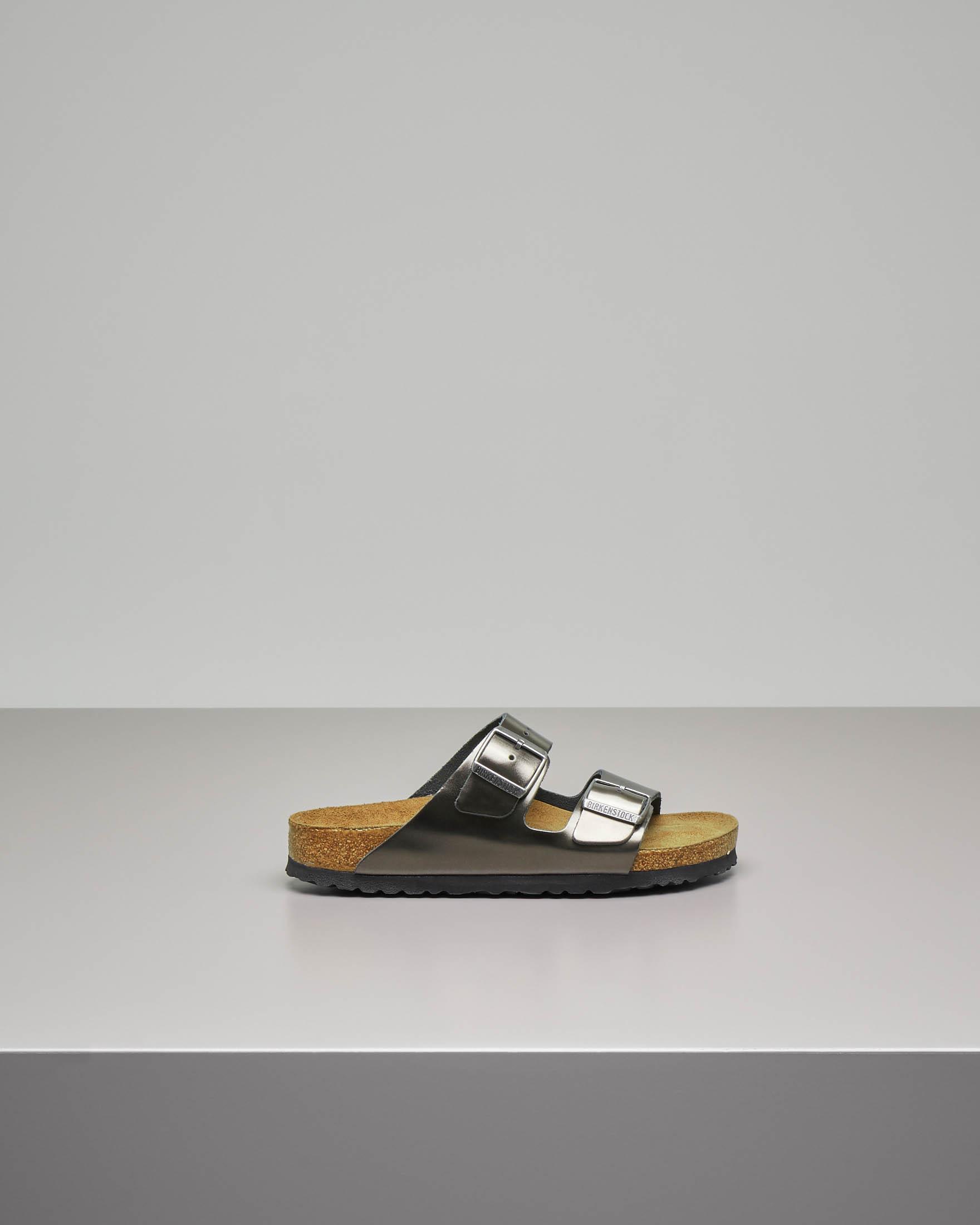 Sandalo Arizona in pelle color antracite effetto laminato con doppia fascetta