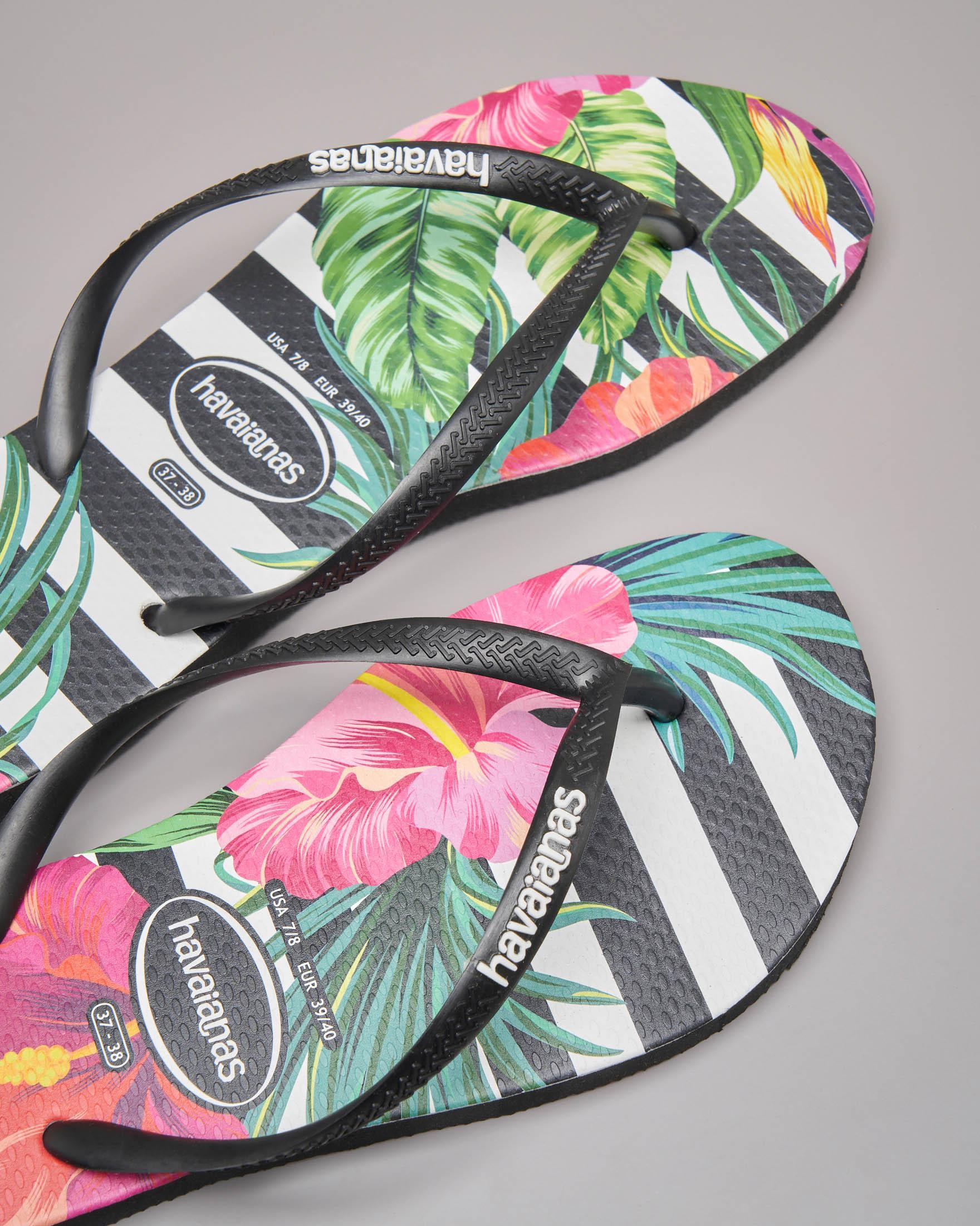 Havaianas Tropical nere con logo bianco