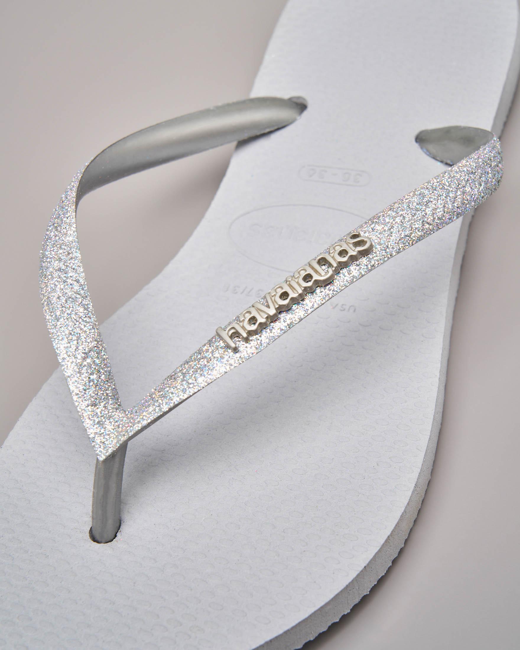 Havaianas glitter argento con logo in metallo