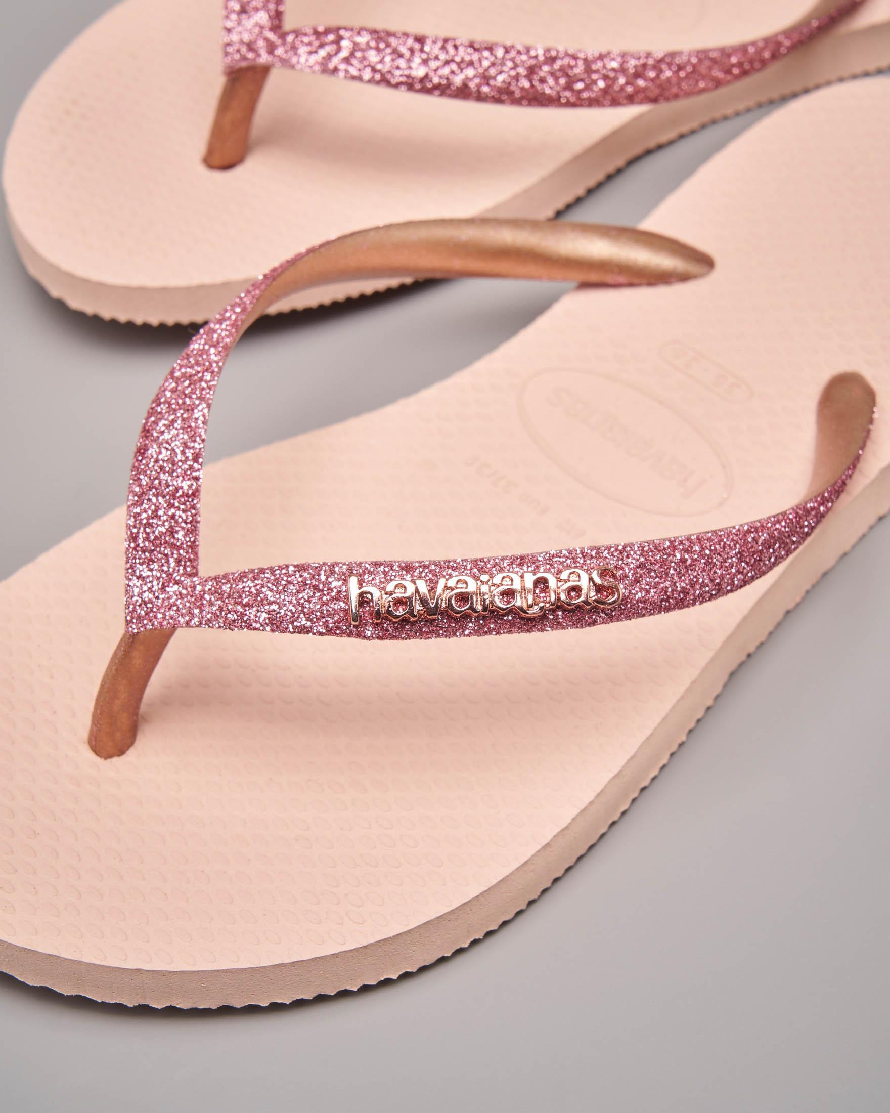 Havaianas glitter rosa con logo in metallo