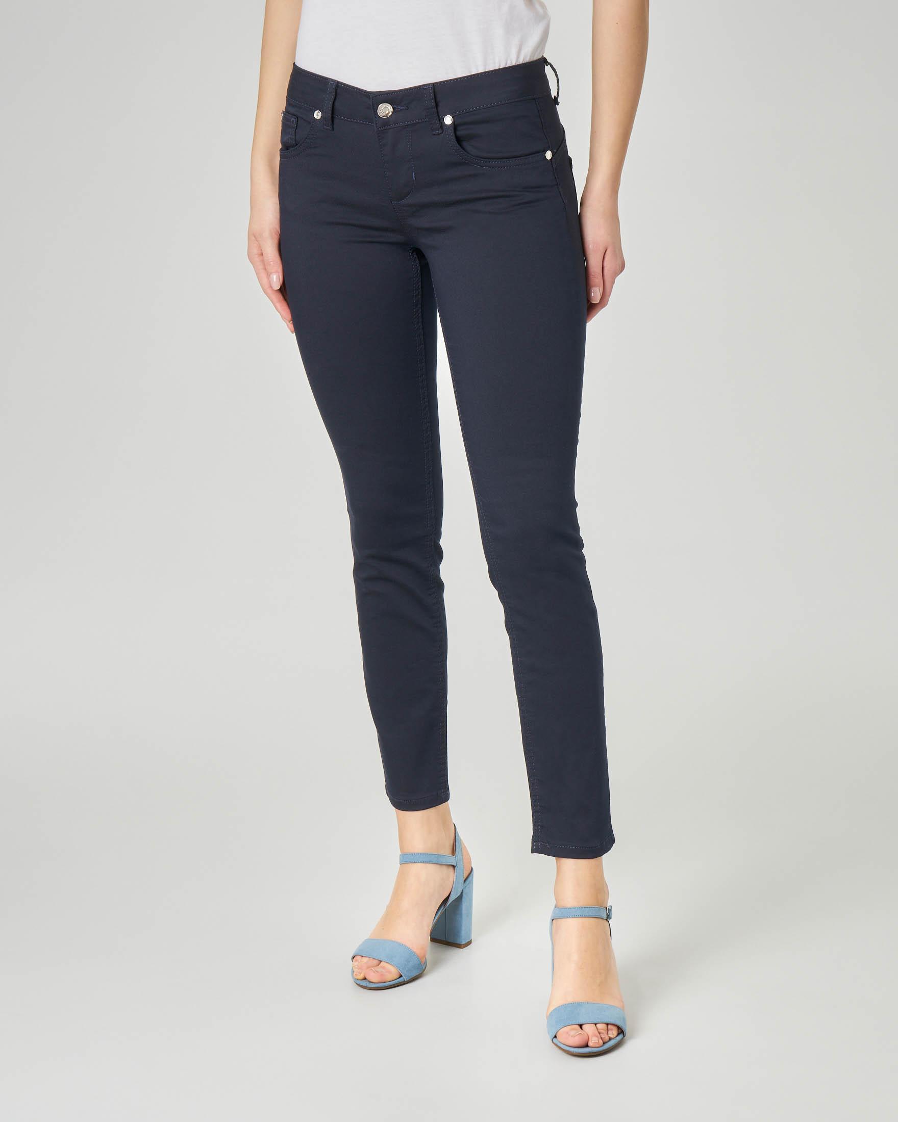 Pantalone cinque tasche blu in cotone elasticizzato vestibilità skinny