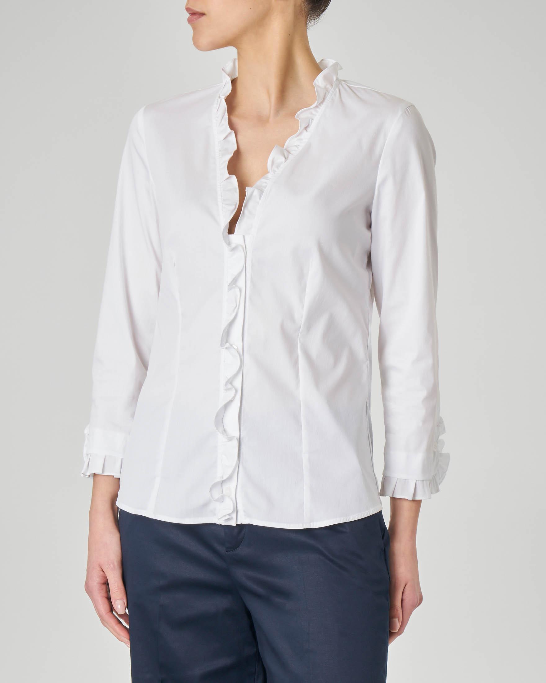 Camicia bianca in cotone elasticizzato con scollo a V con volant
