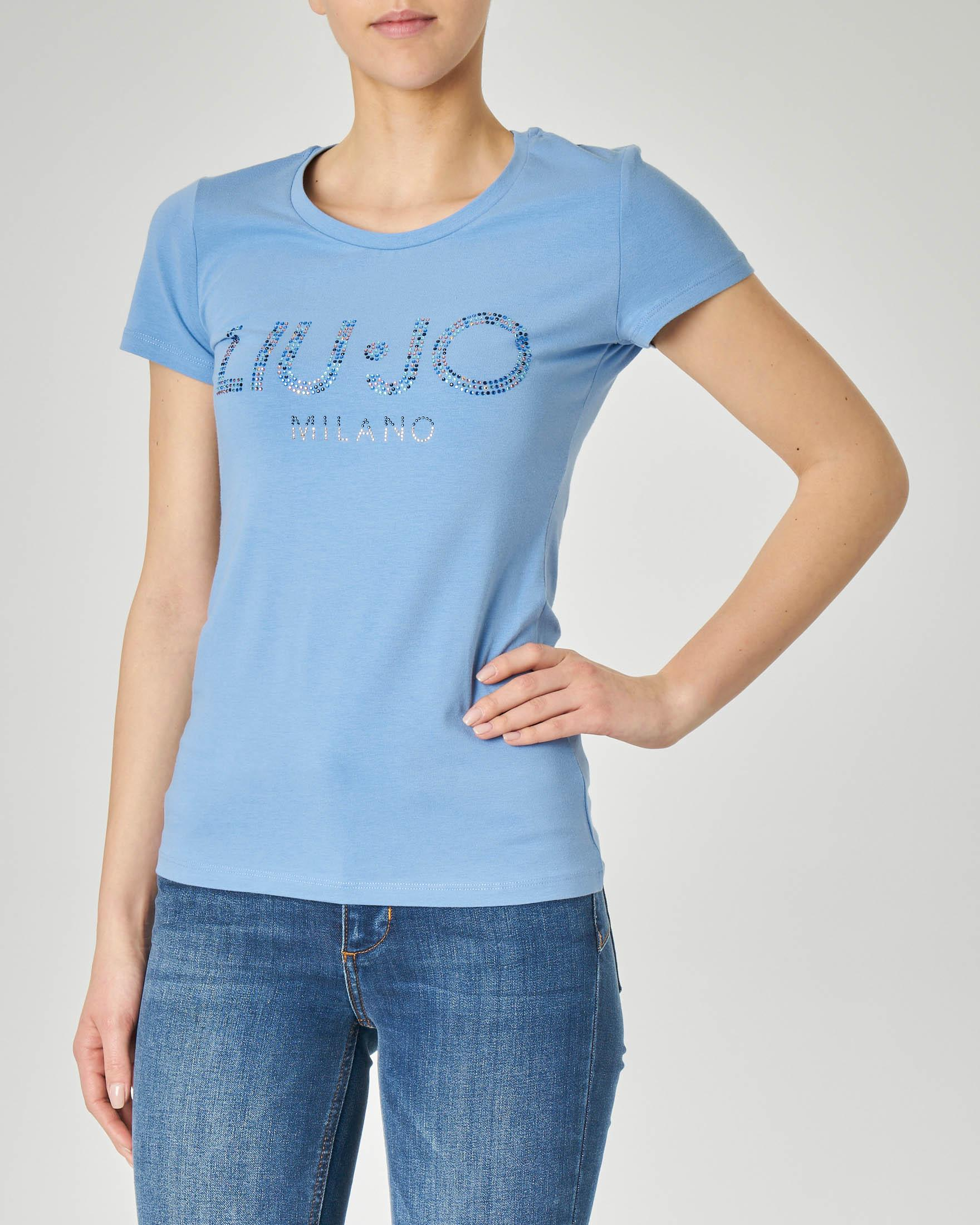 T-shirt azzurra maniche corte con logo in strass applicati