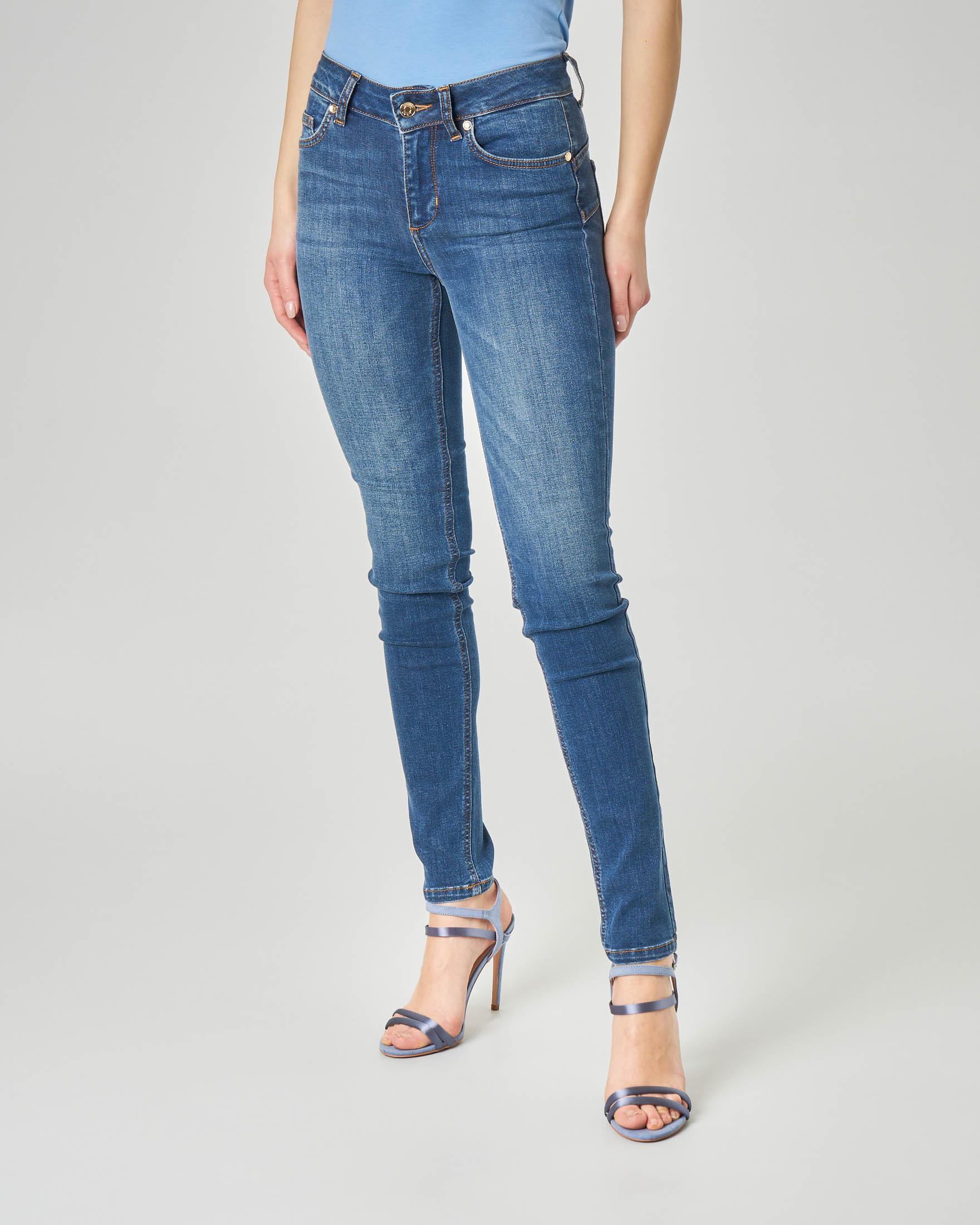 Jeans skinny blu stone washed