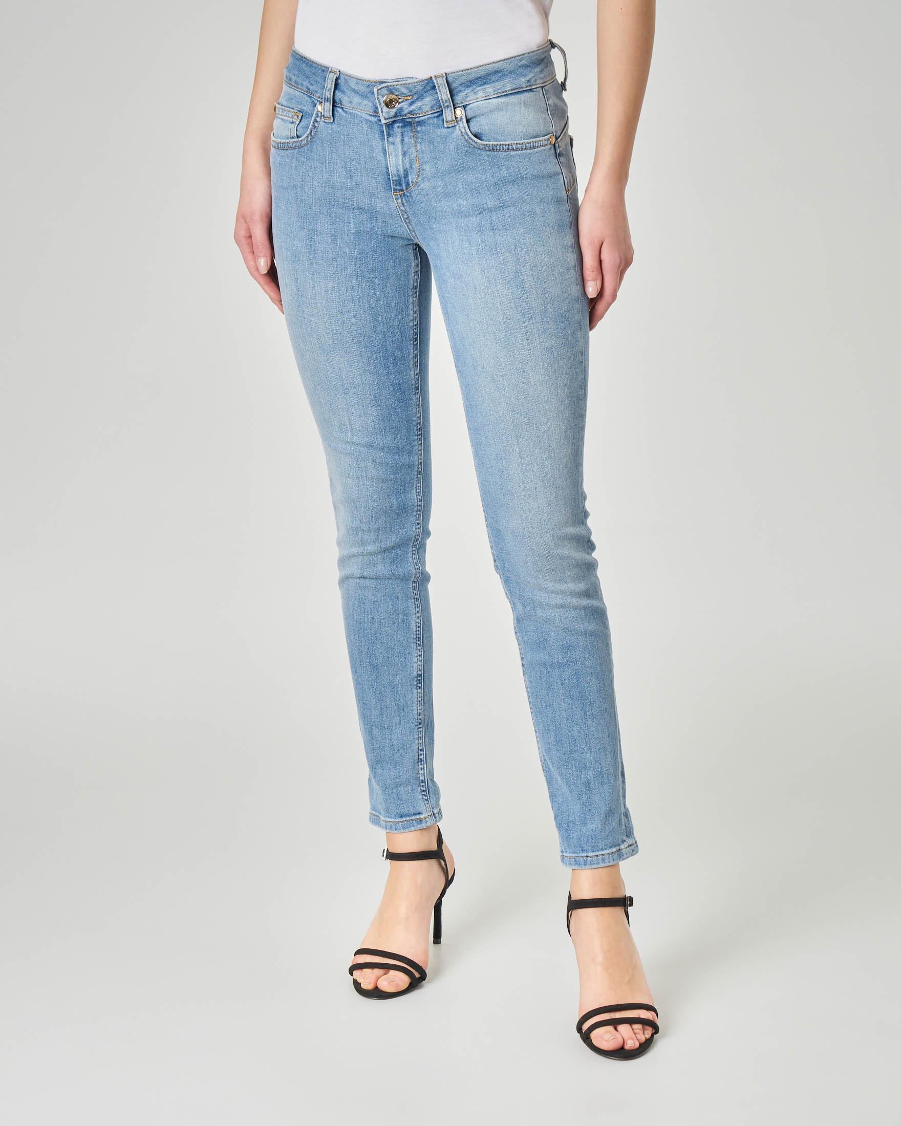 Jeans skinny in cotone elasticizzato blu délavé