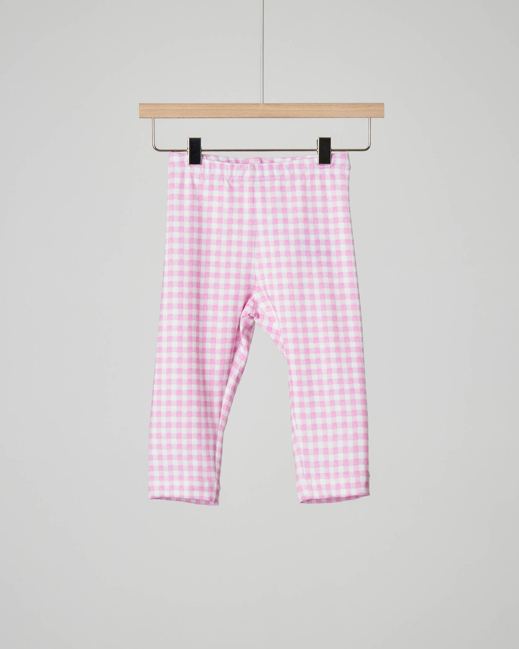 Leggins bianco e rosa vichy