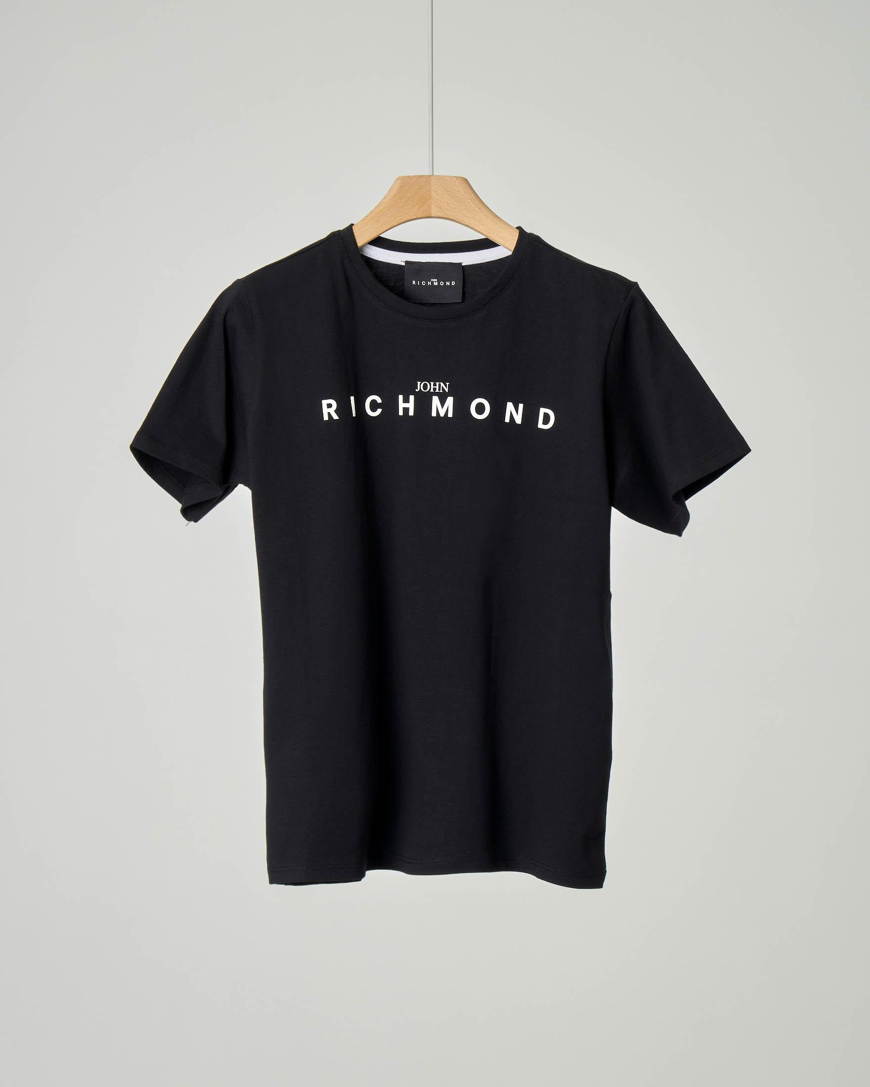 T-shirt nera iconica con logo